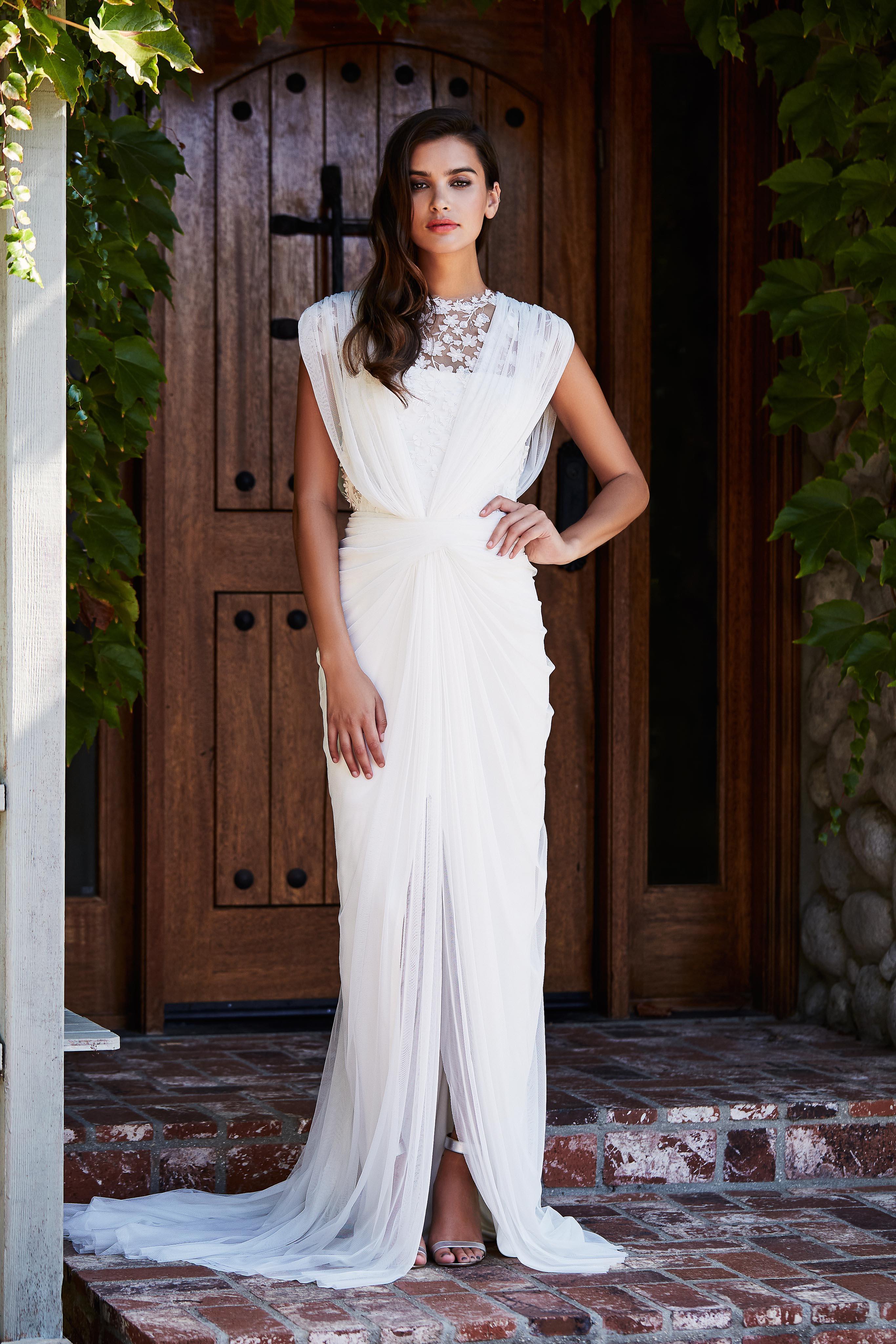 tadashi shoji wedding dress fall 2018 draped shoulders