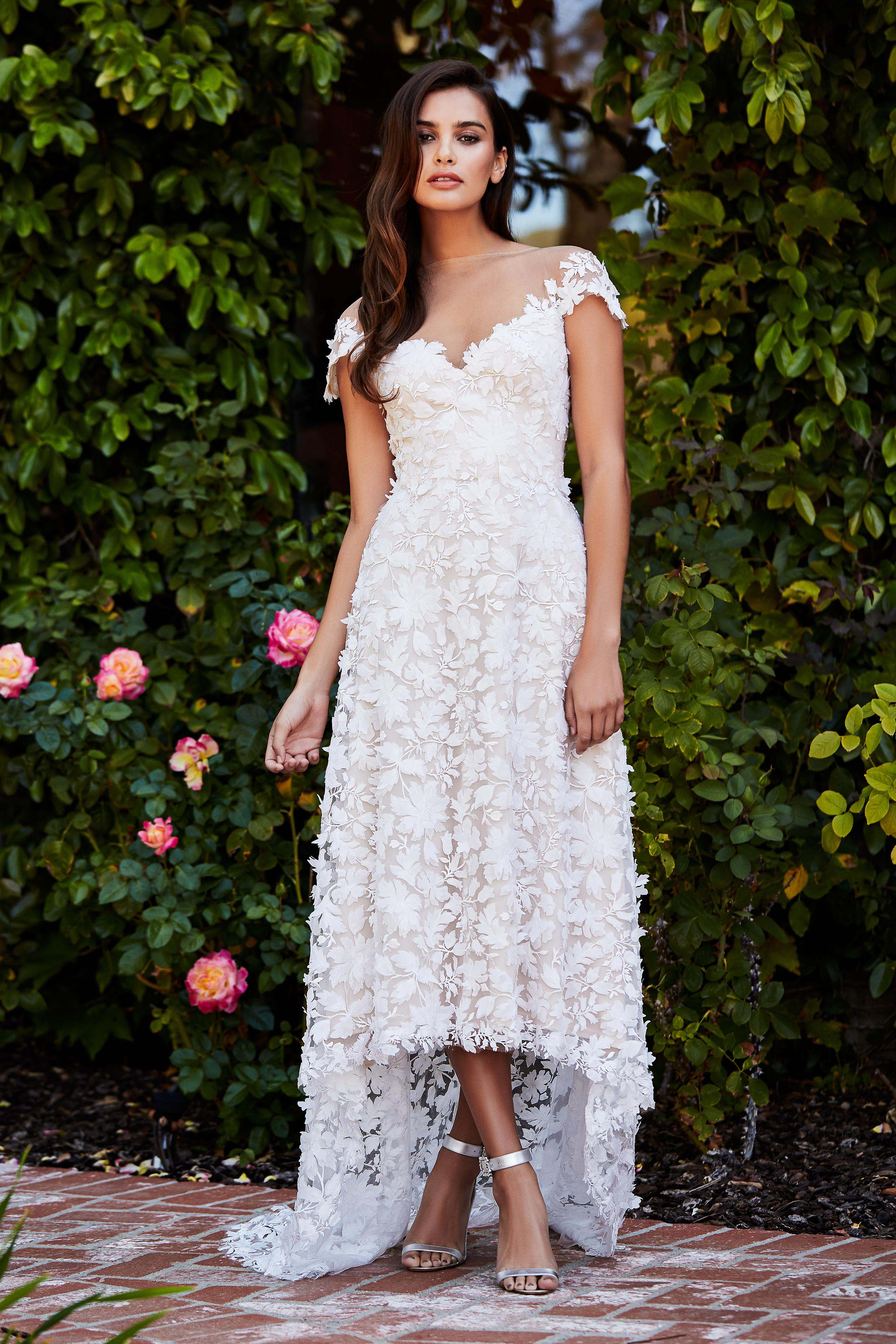 tadashi shoji wedding dress fall 2018 lace embroidered sweetheart