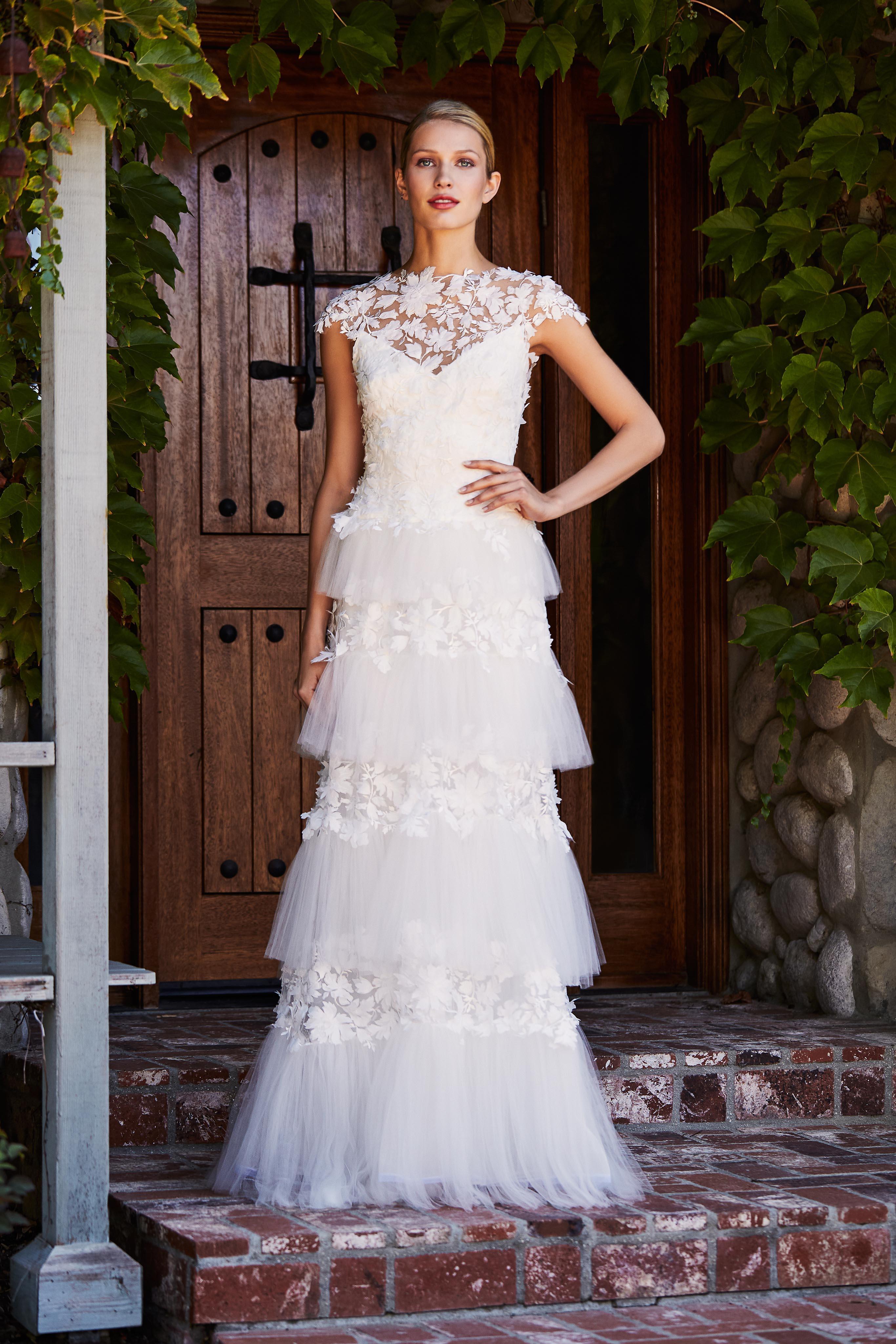 tadashi shoji wedding dress fall 2018 tiered tulle high neck