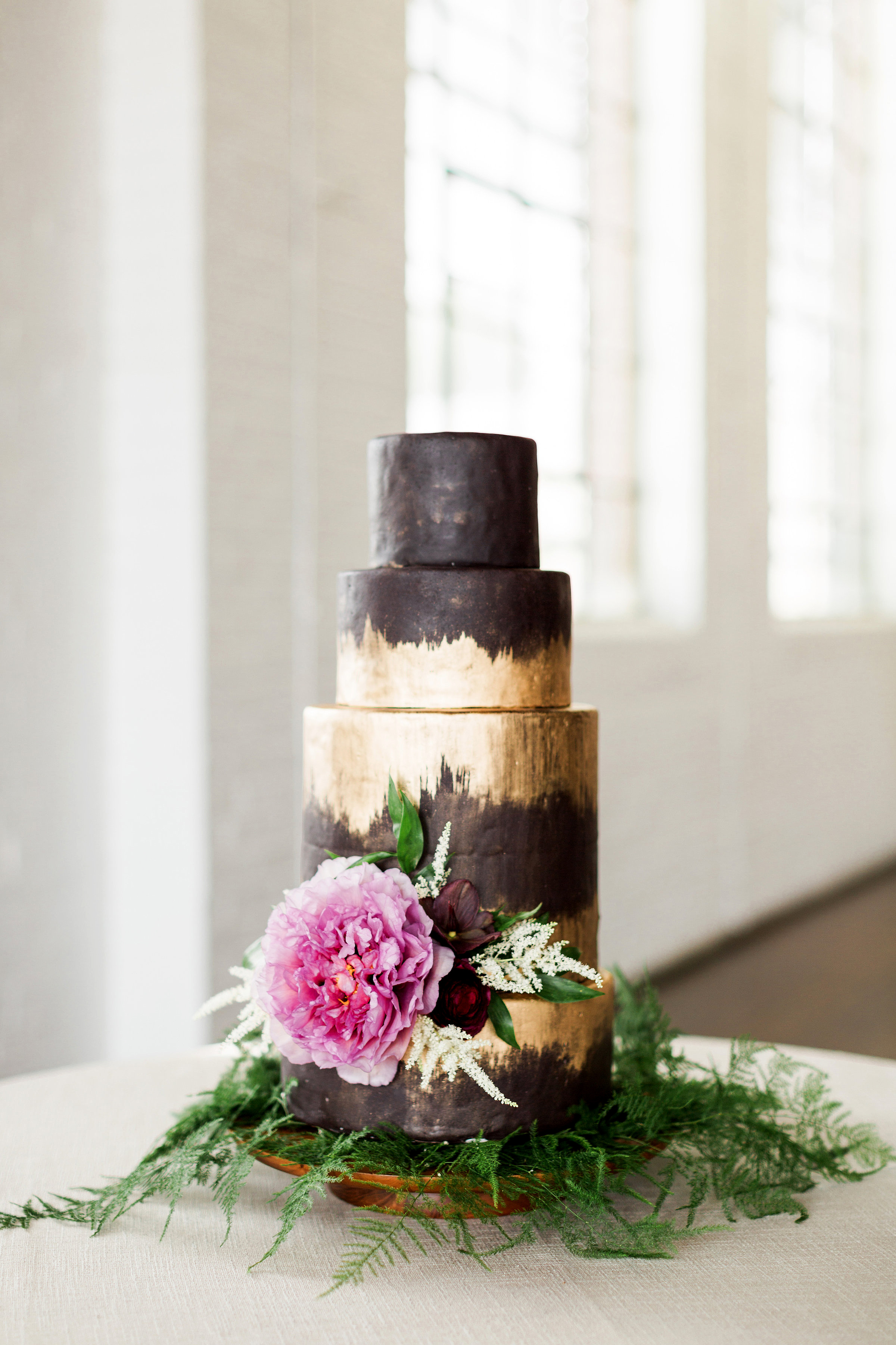 brown-and-gold wedding cake