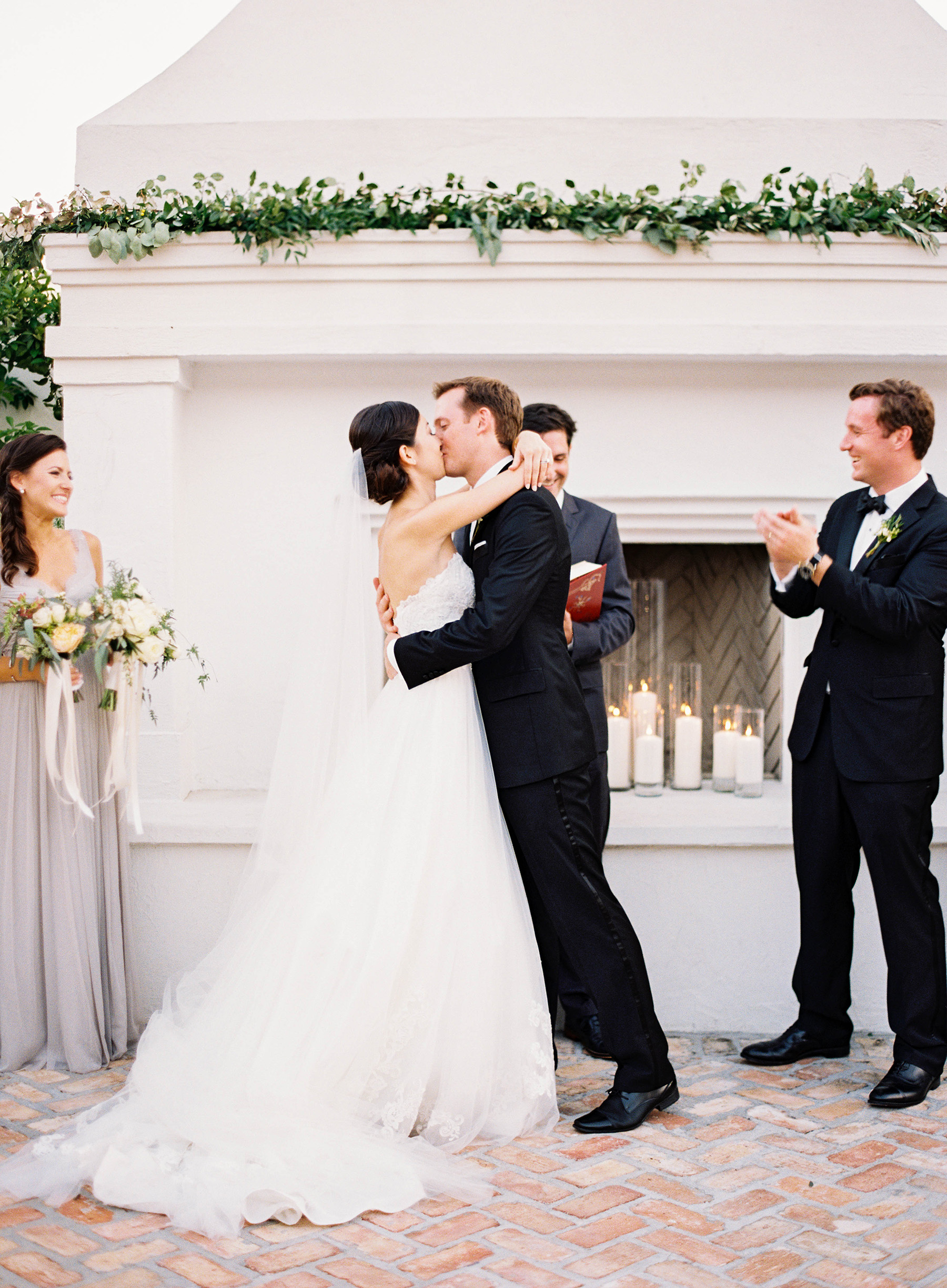 ceremony in front of mantel