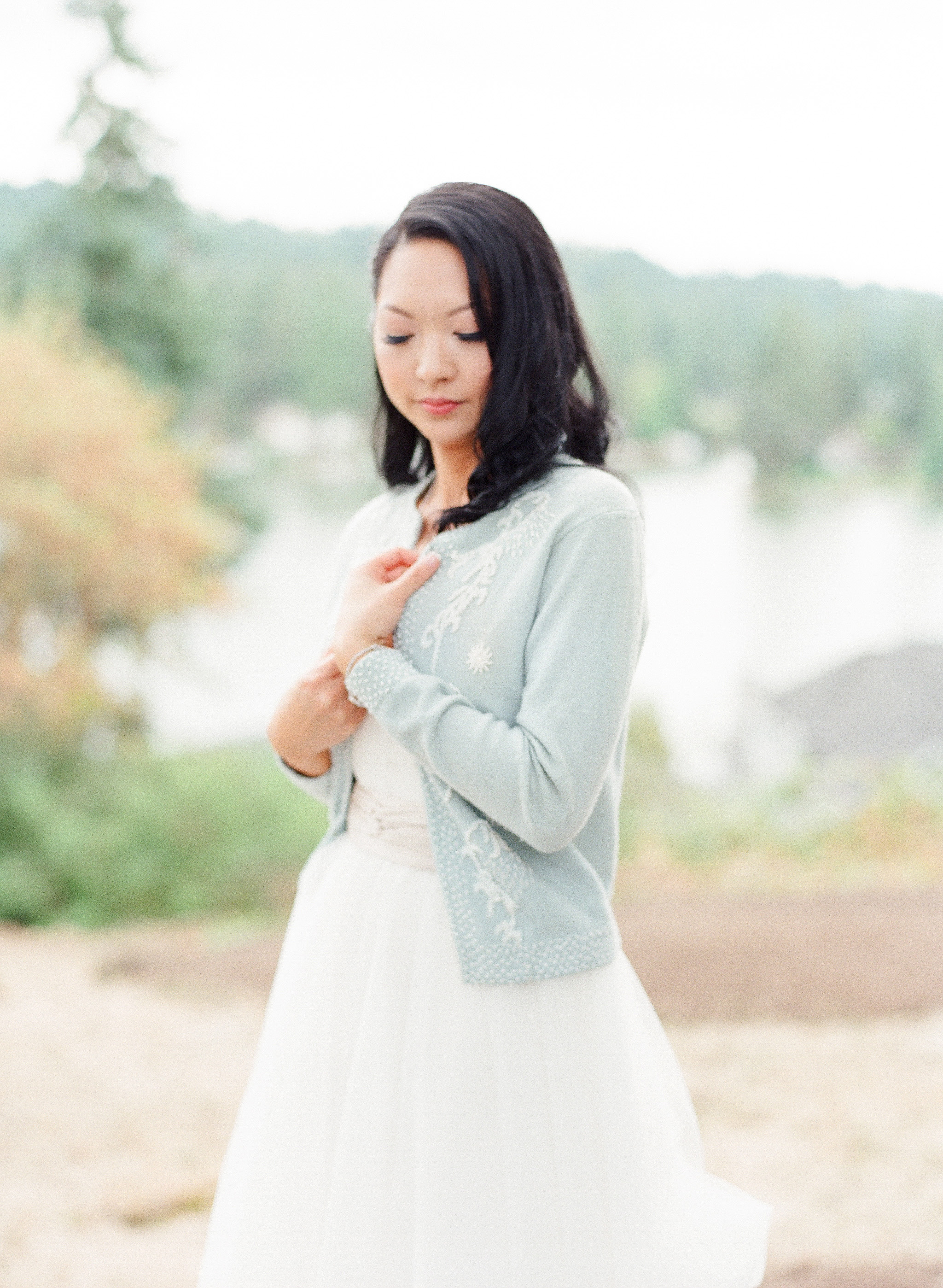bride wearing cardigan