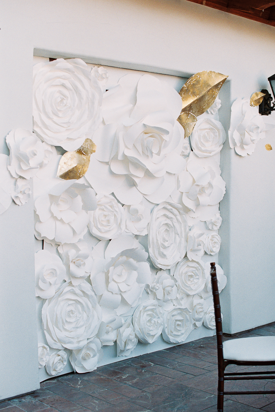 White rose gold leaf wall decorations