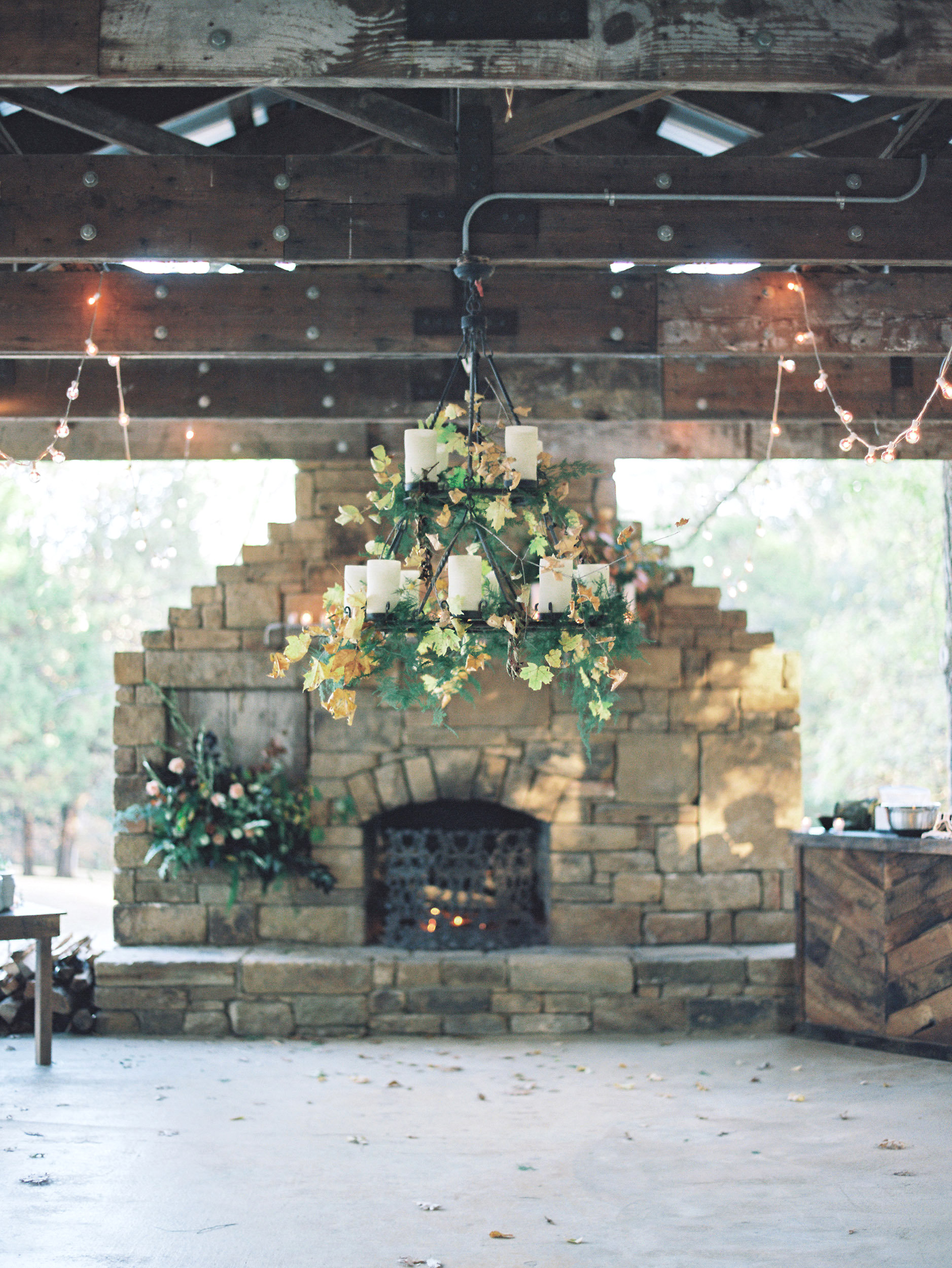 wedding fireplace chandelier