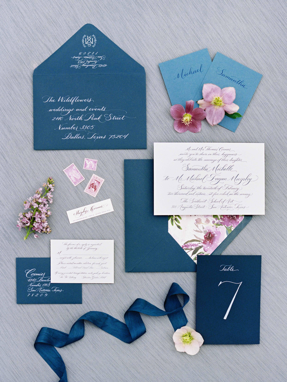 dark blue wedding stationery suite