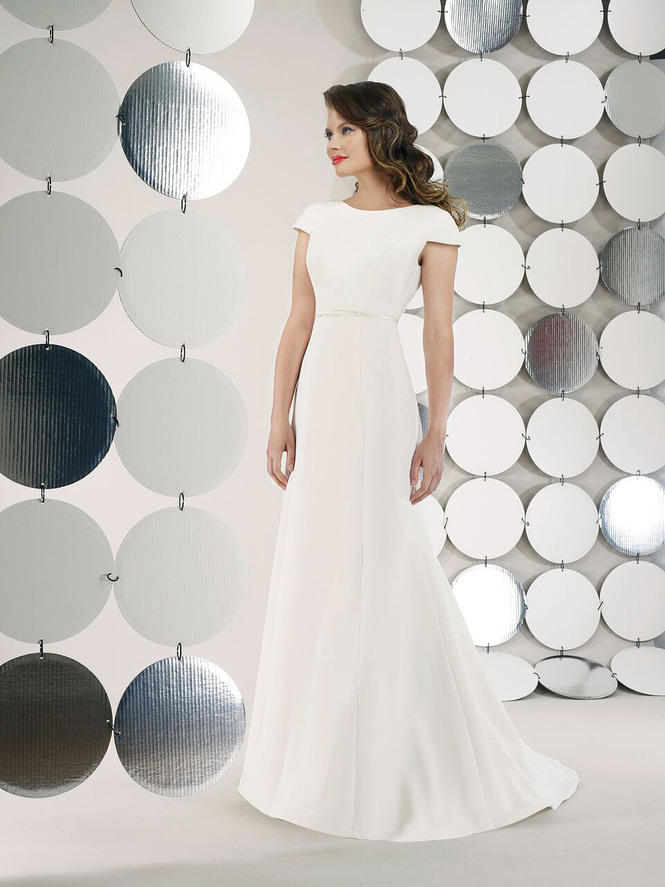 steven birnbaum bridal wedding dress fall 2018 cap sleeves a line high neck