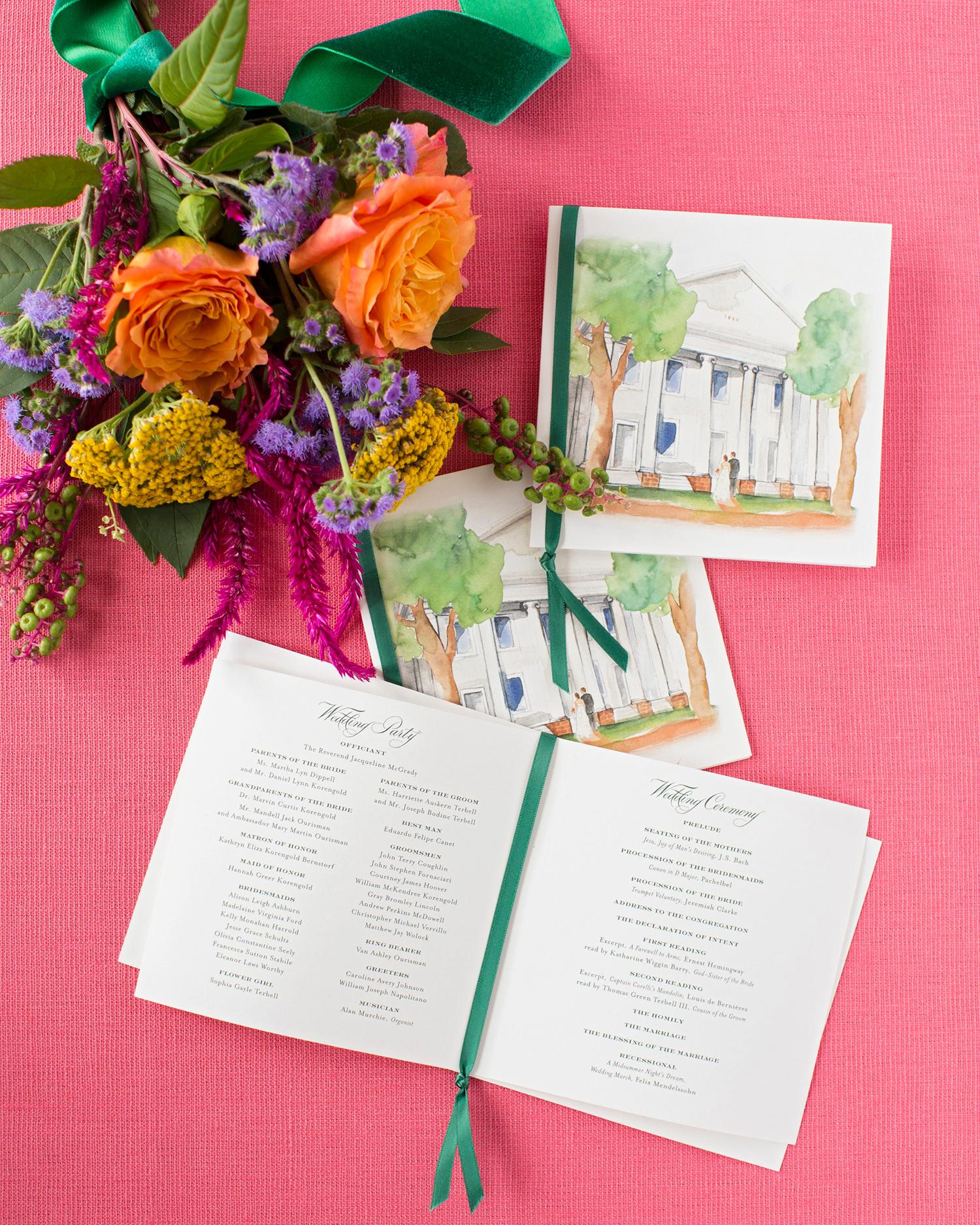 madelyn jon wedding program and flowers
