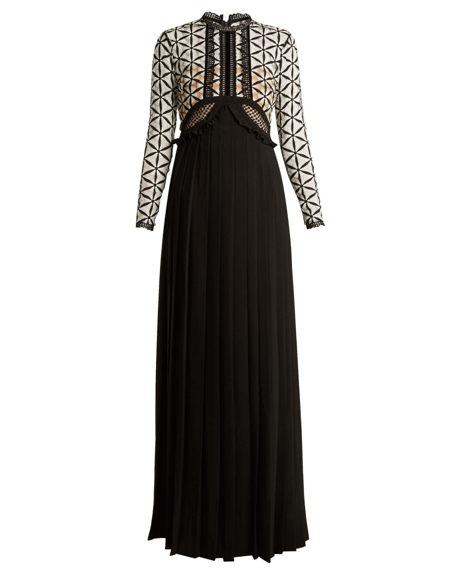 long sleeve lace panel gown