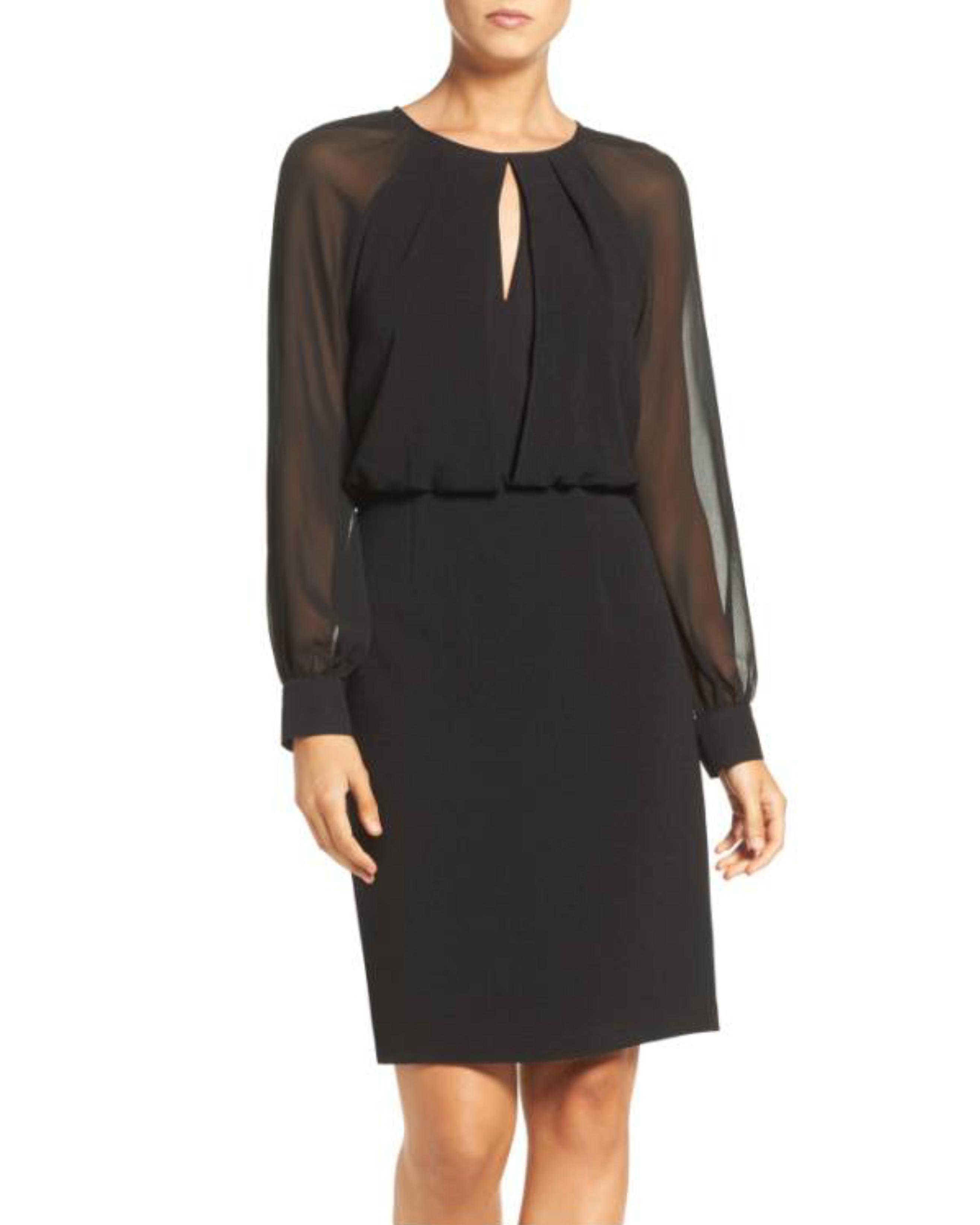 black long-sleeve dress