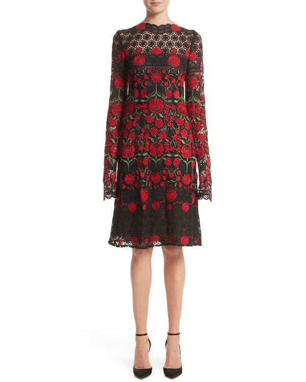long sleeve red floral gown