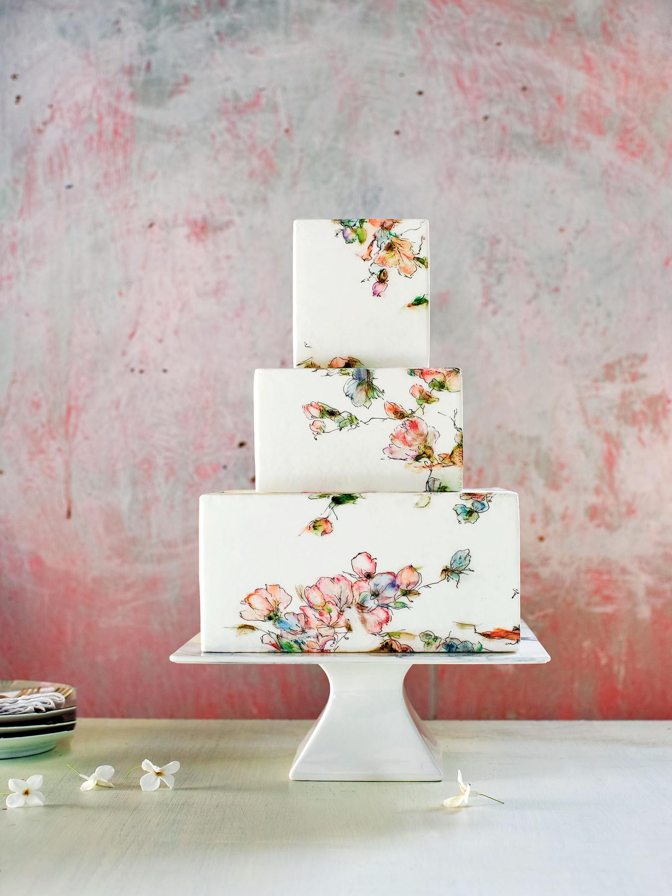 maggie austin square watercolor cake