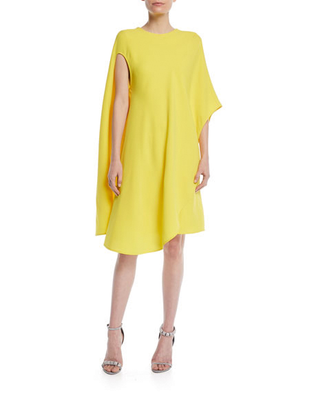 mother of the bride dress silk-wool asymmetric flowy dress