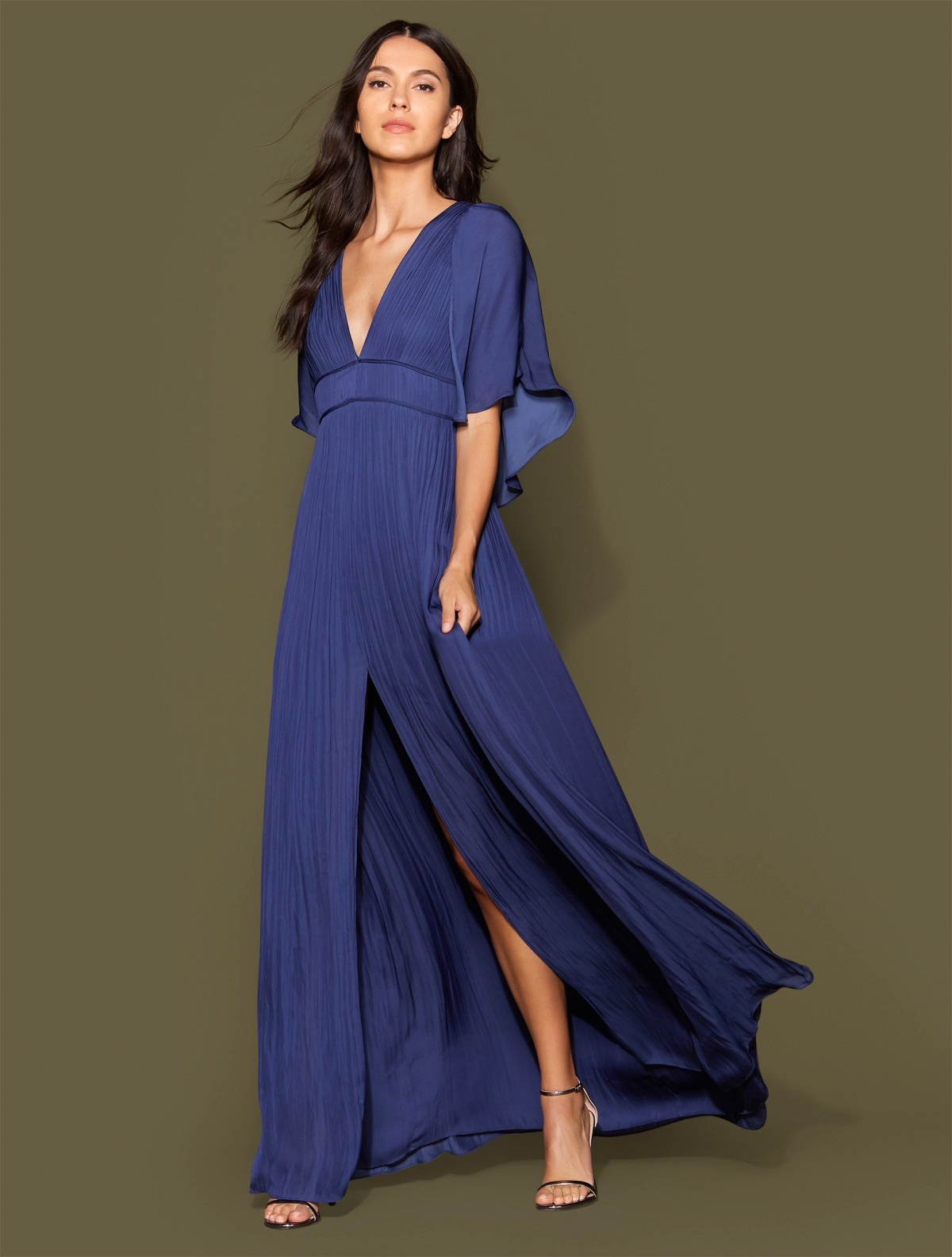 mother of the bride dress blue cape sleeve flowy pleated
