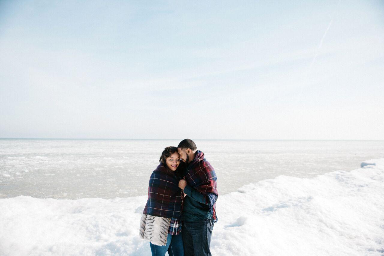 couple frozen lake