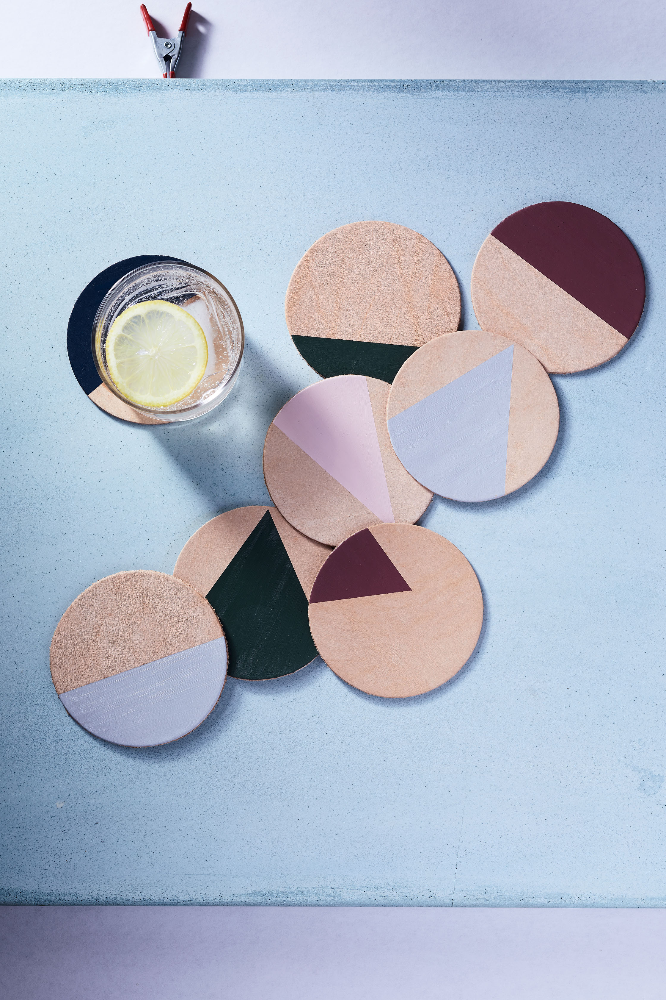 DIY Leather Geometric Coasters