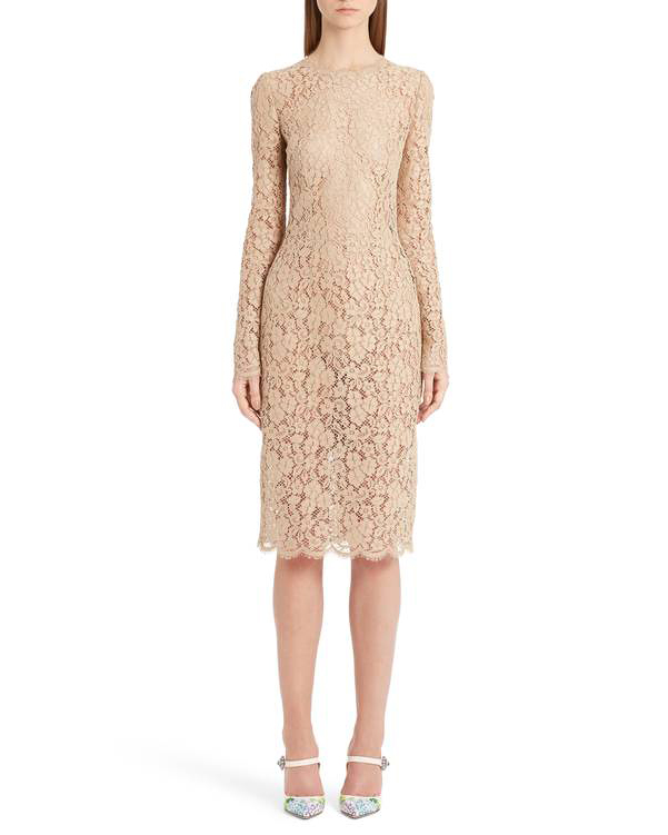beige long sleeve lace gown