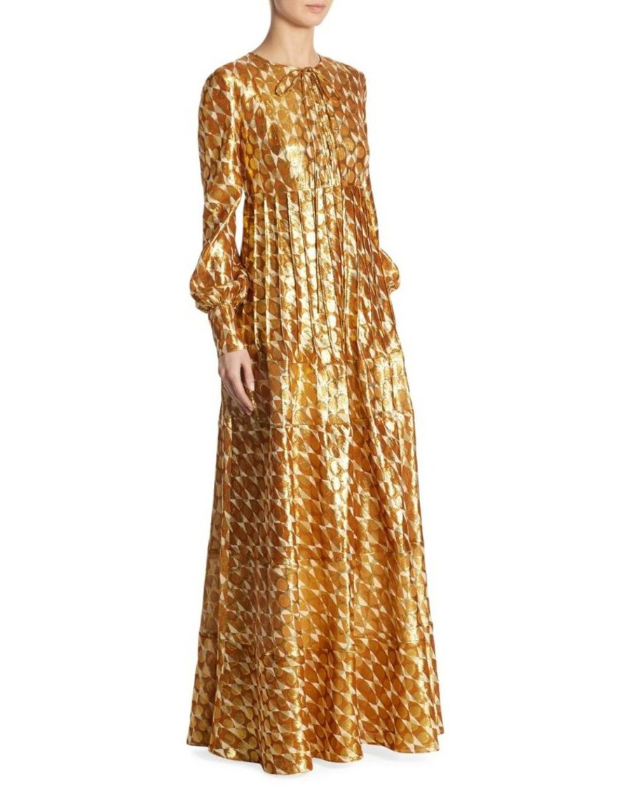 gold long sleeve dress