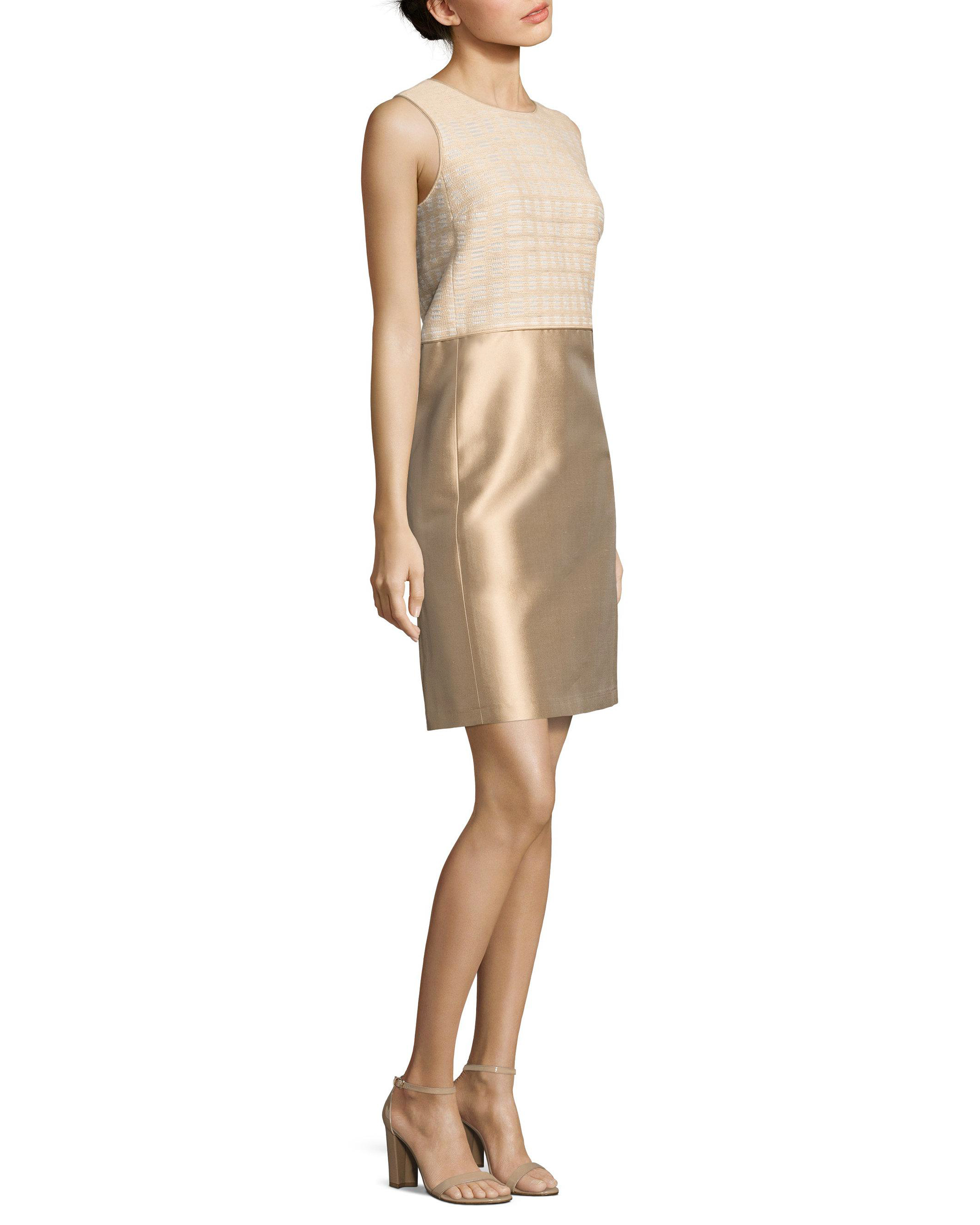beige gold sleeveless dress