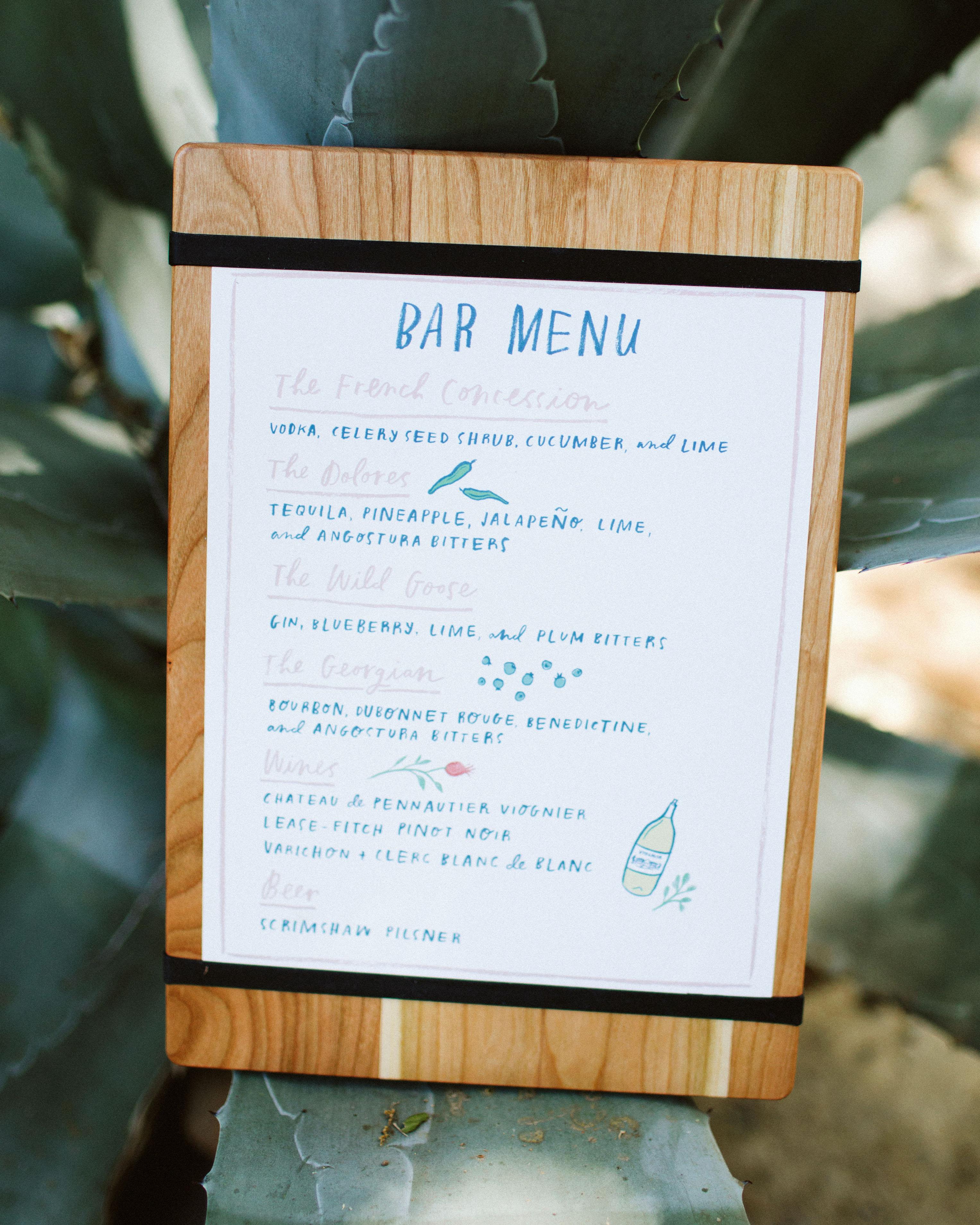 eliza peter wedding bar menu