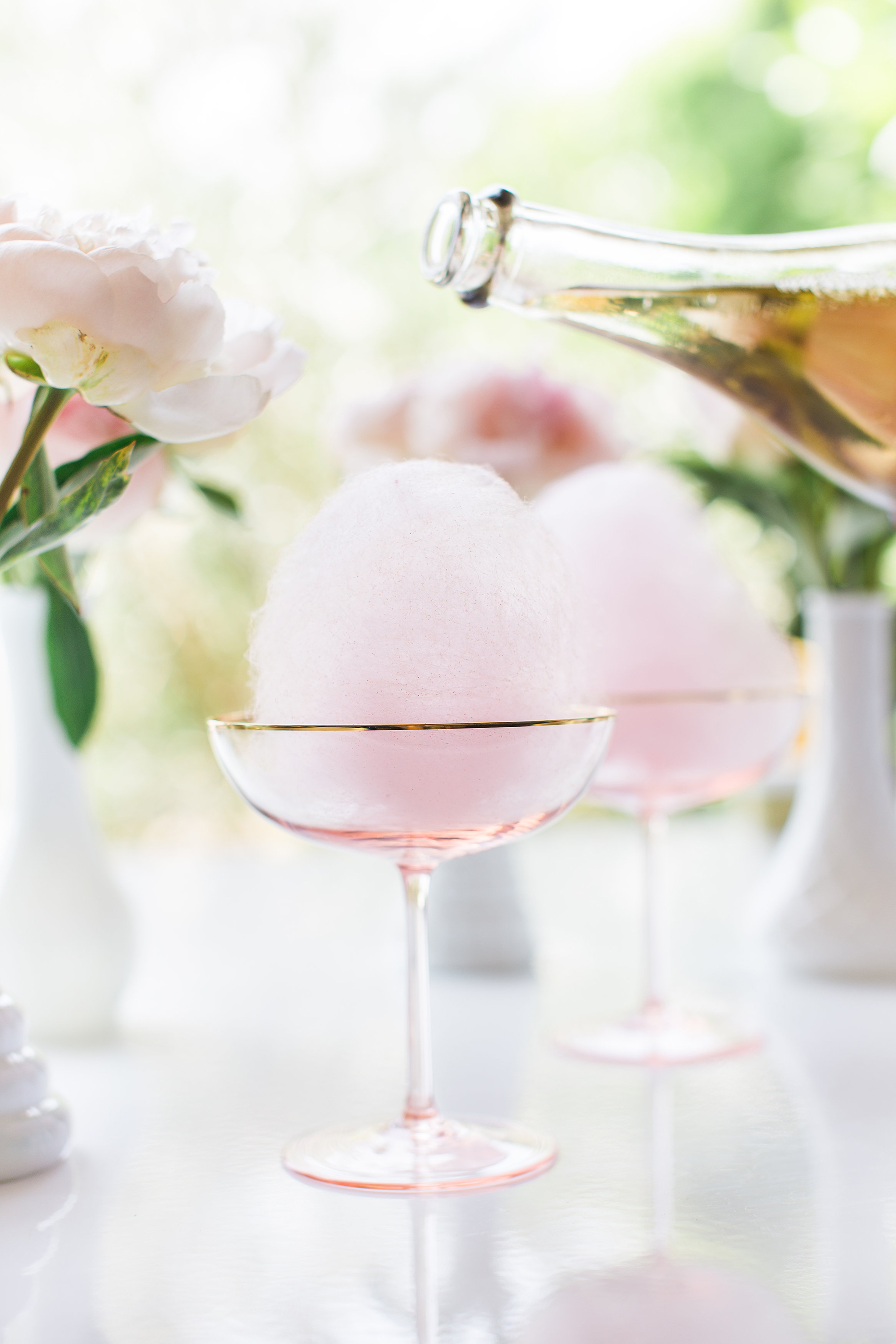 Champagne Cocktail with Cotton Candy