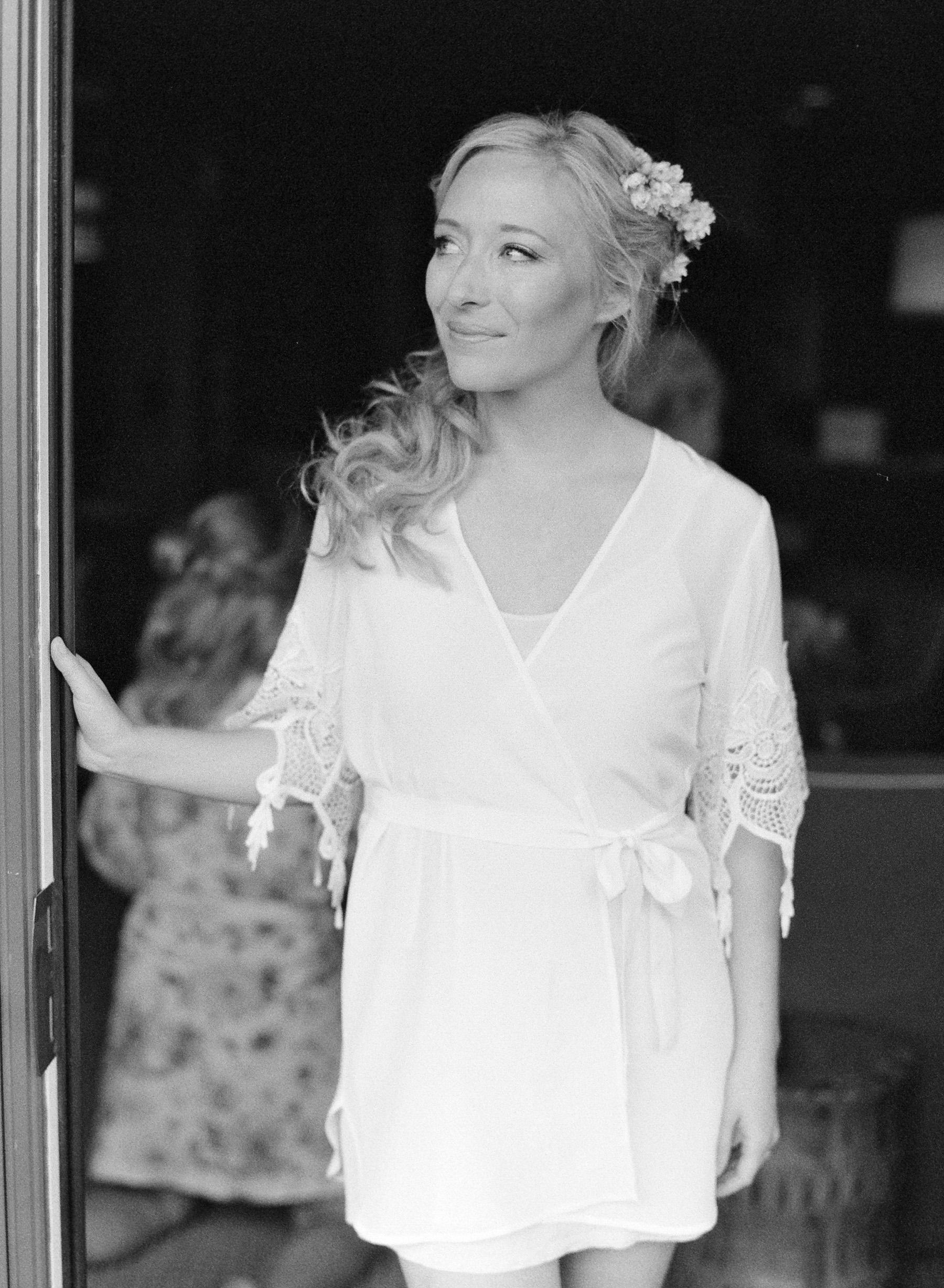 bride in short dress