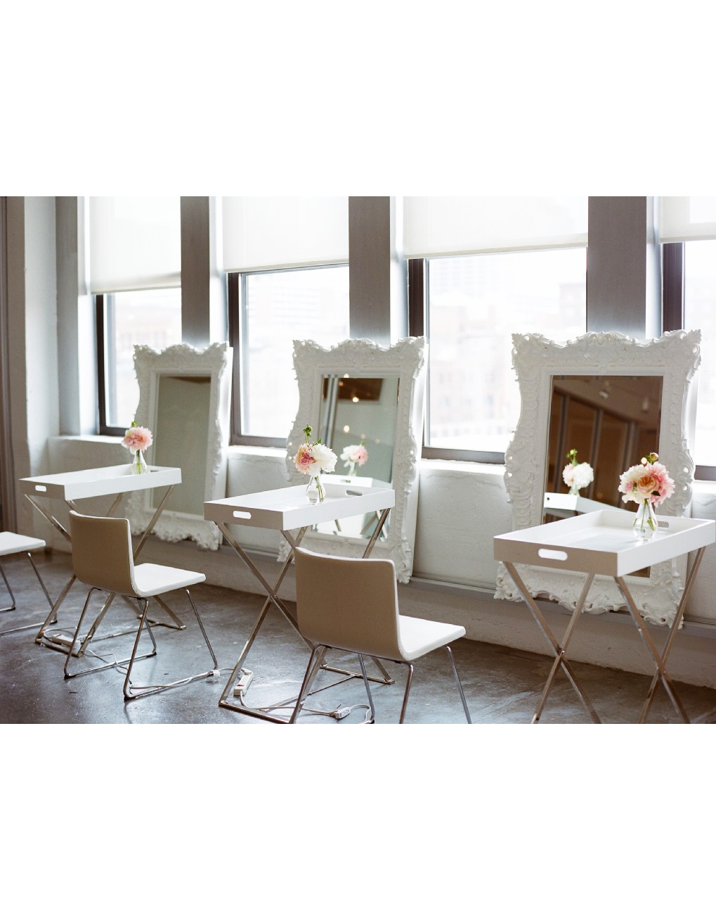 spare room with chairs and mirrors