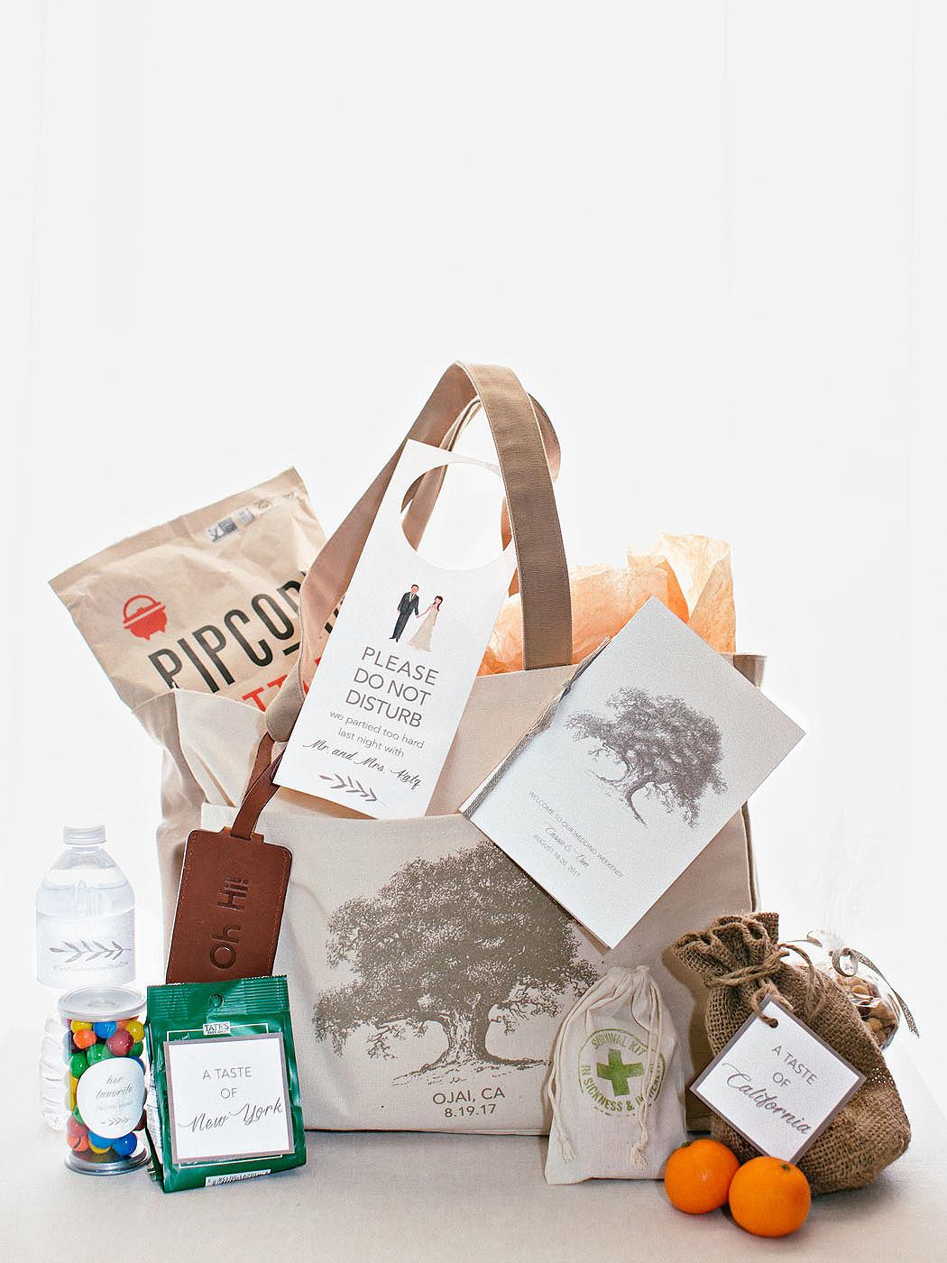cassandra ben wedding california welcome bag