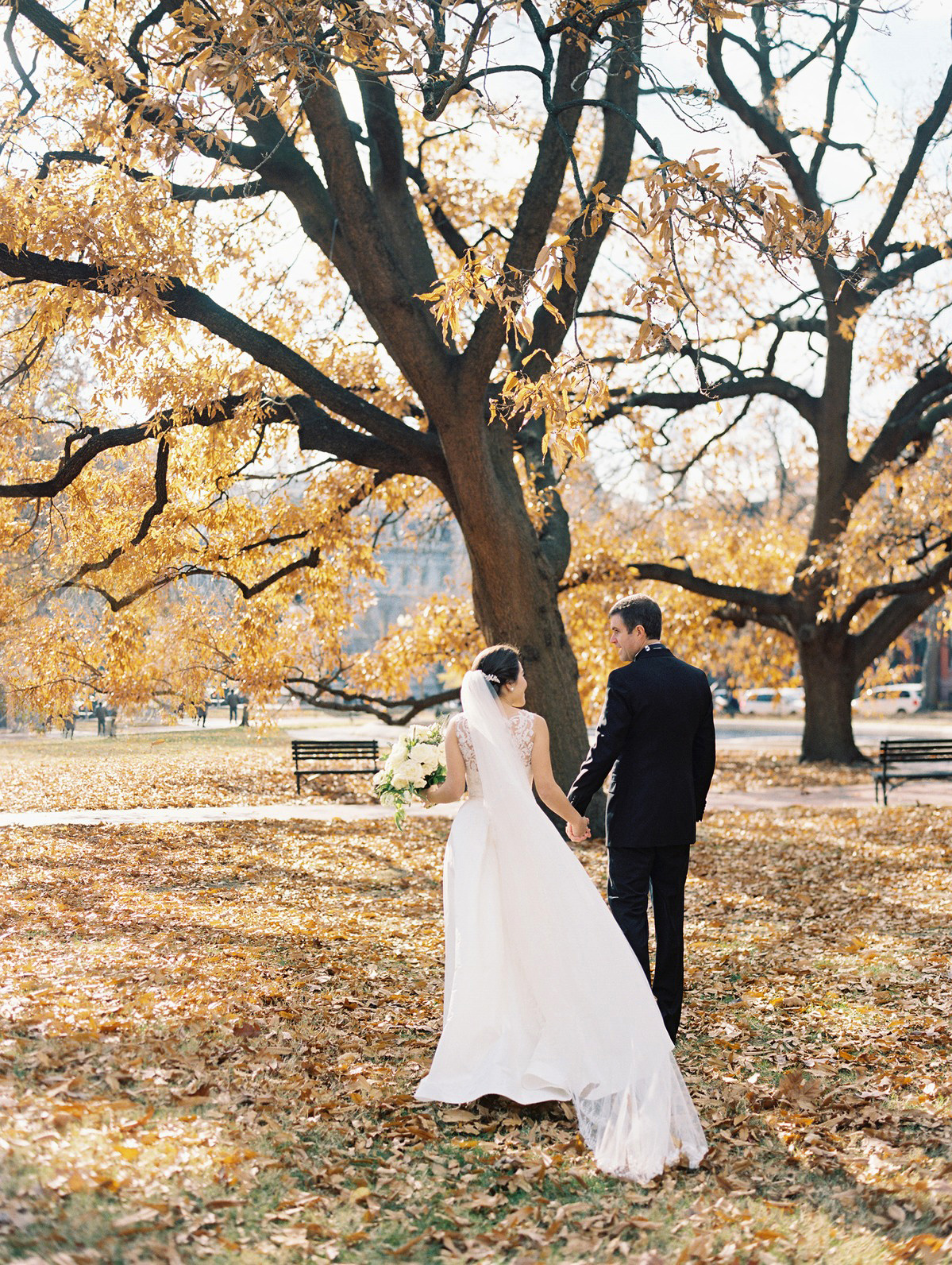 celina rob wedding virginia couple walking leaves