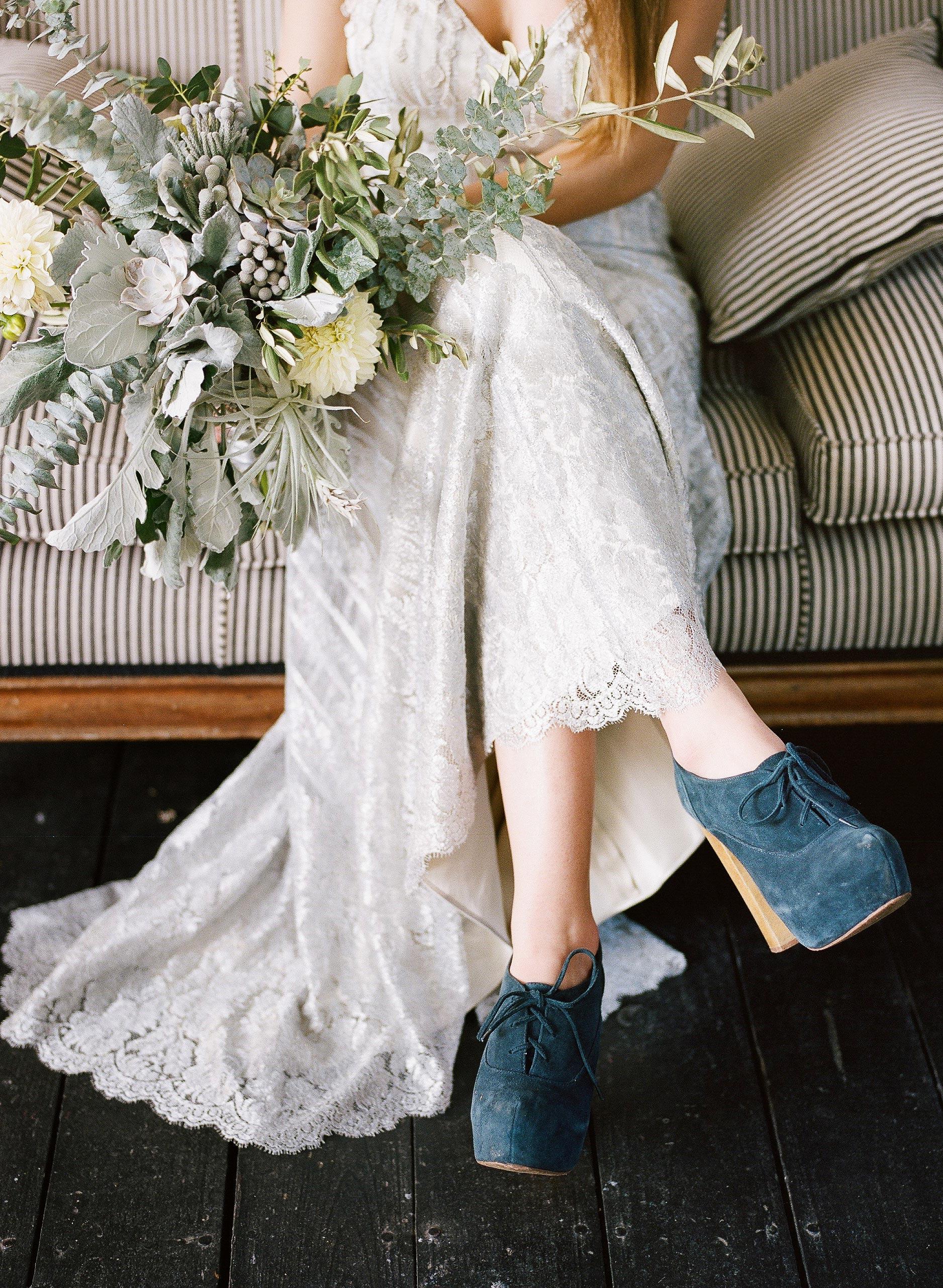 blue felt heels