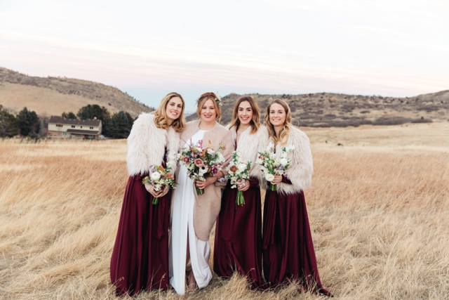 bridesmaids in field
