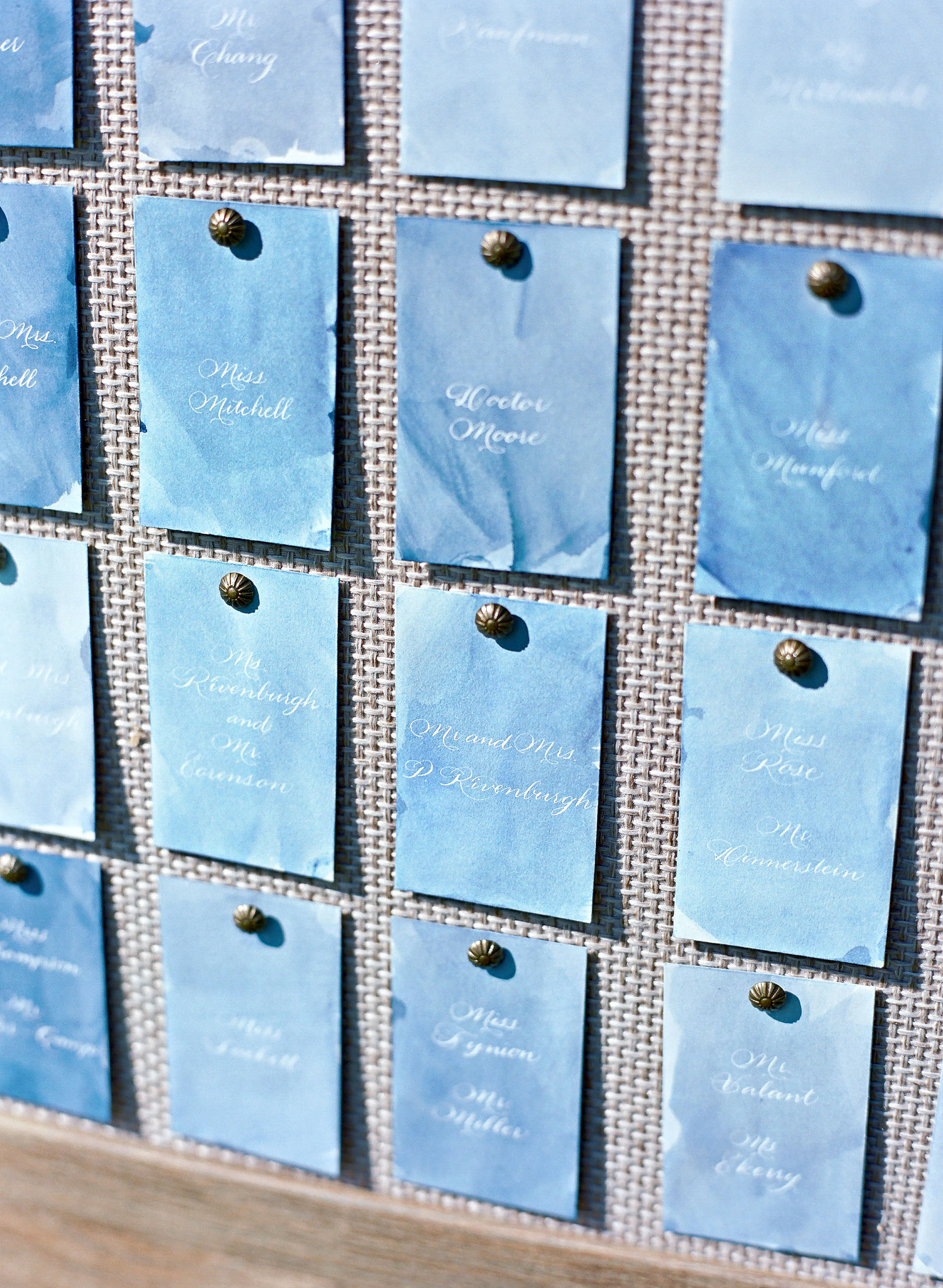 blue escort cards