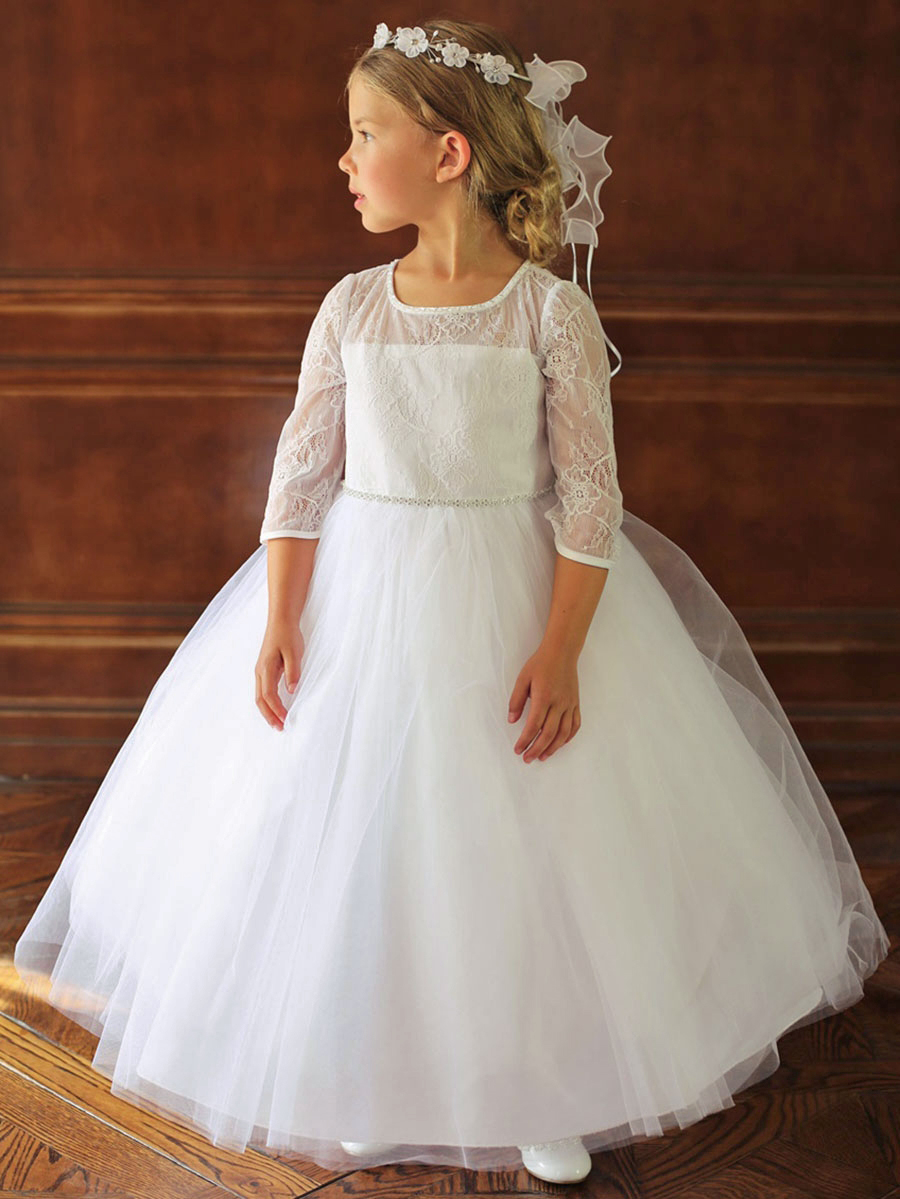 long sleeve flower girl dresses pink princess illusion