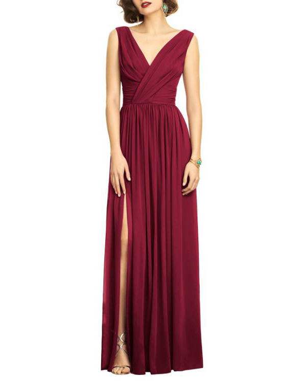 burgundy dress wrap