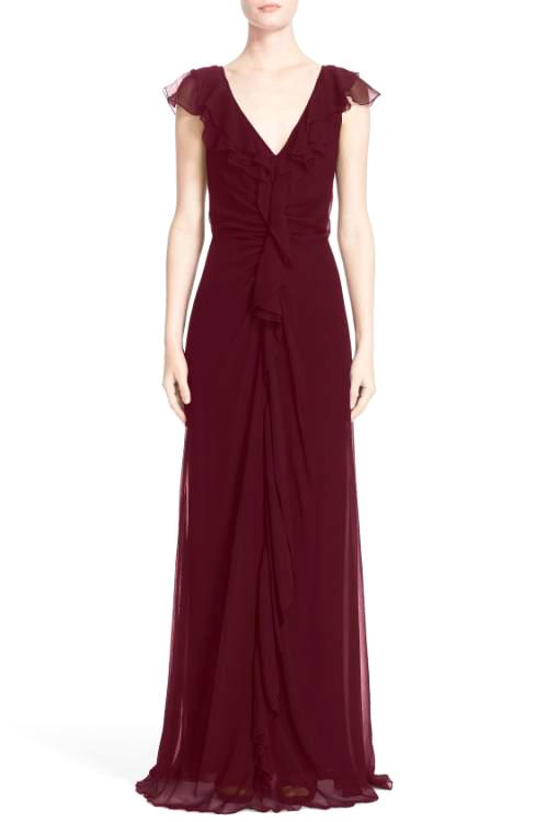 v-neck flutter sleeve burgundy gown