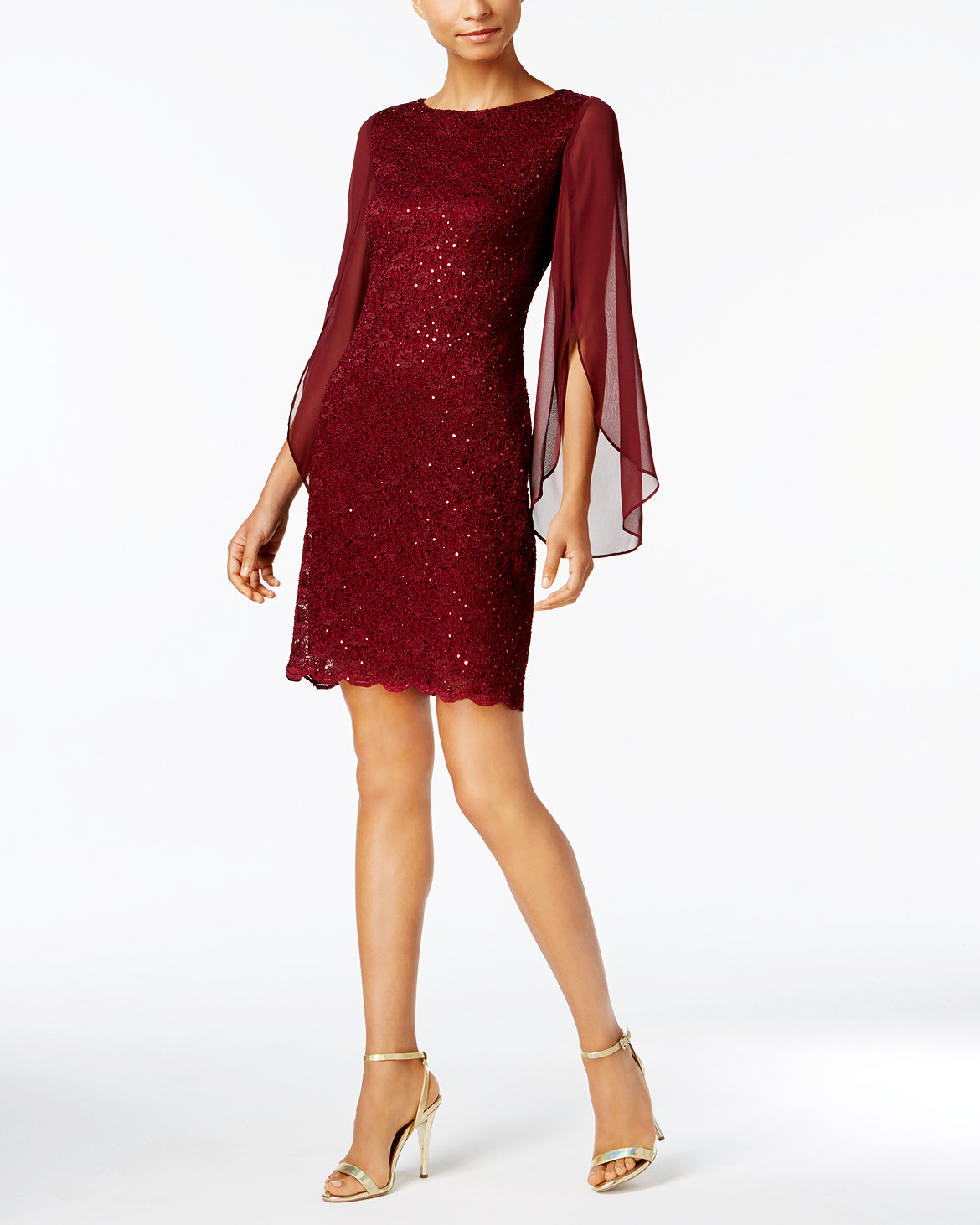 burgundy gown long sleeve