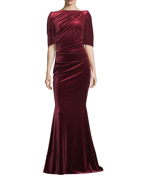 burgundy high neck gown