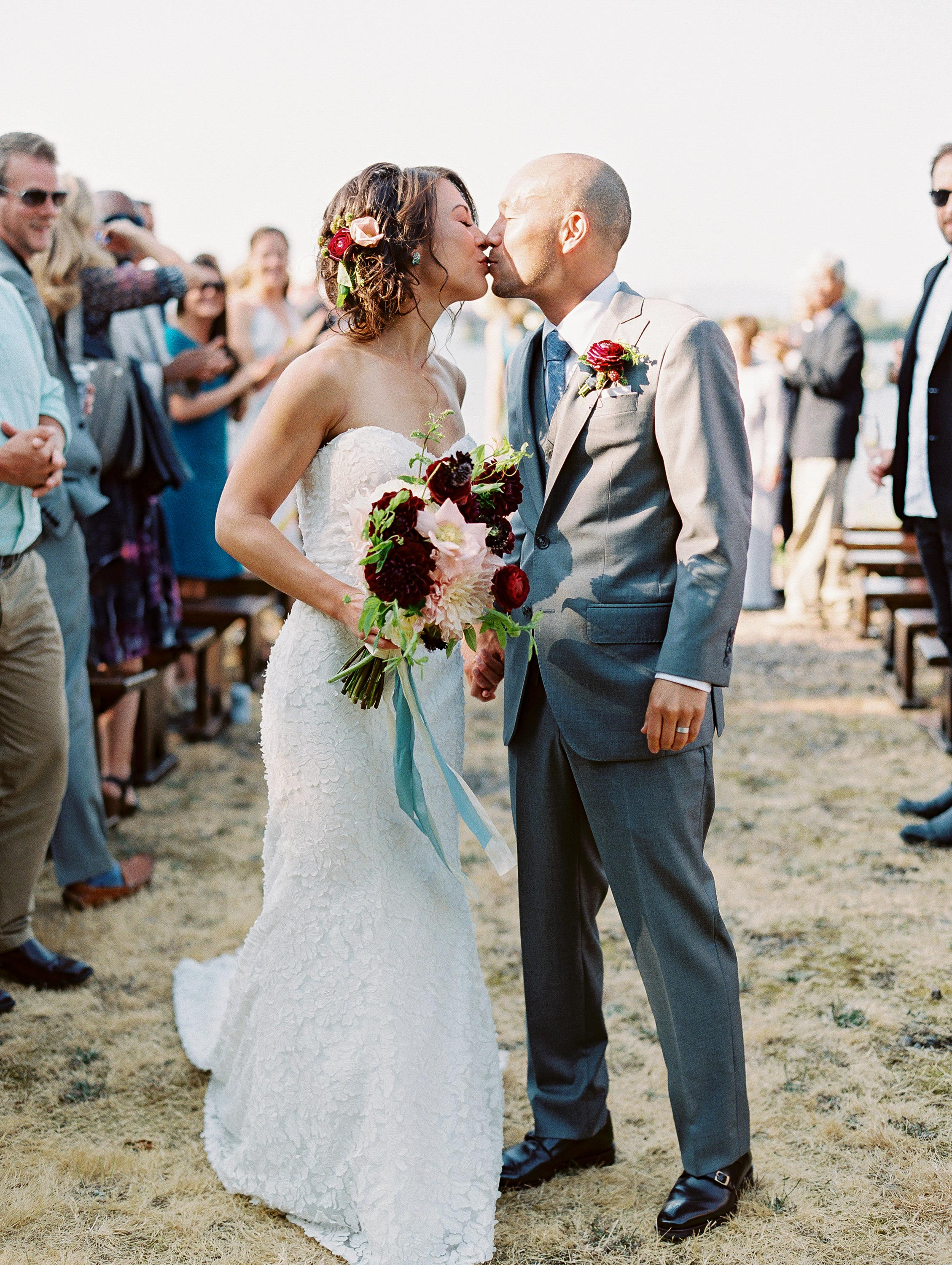 wedding recessional kiss