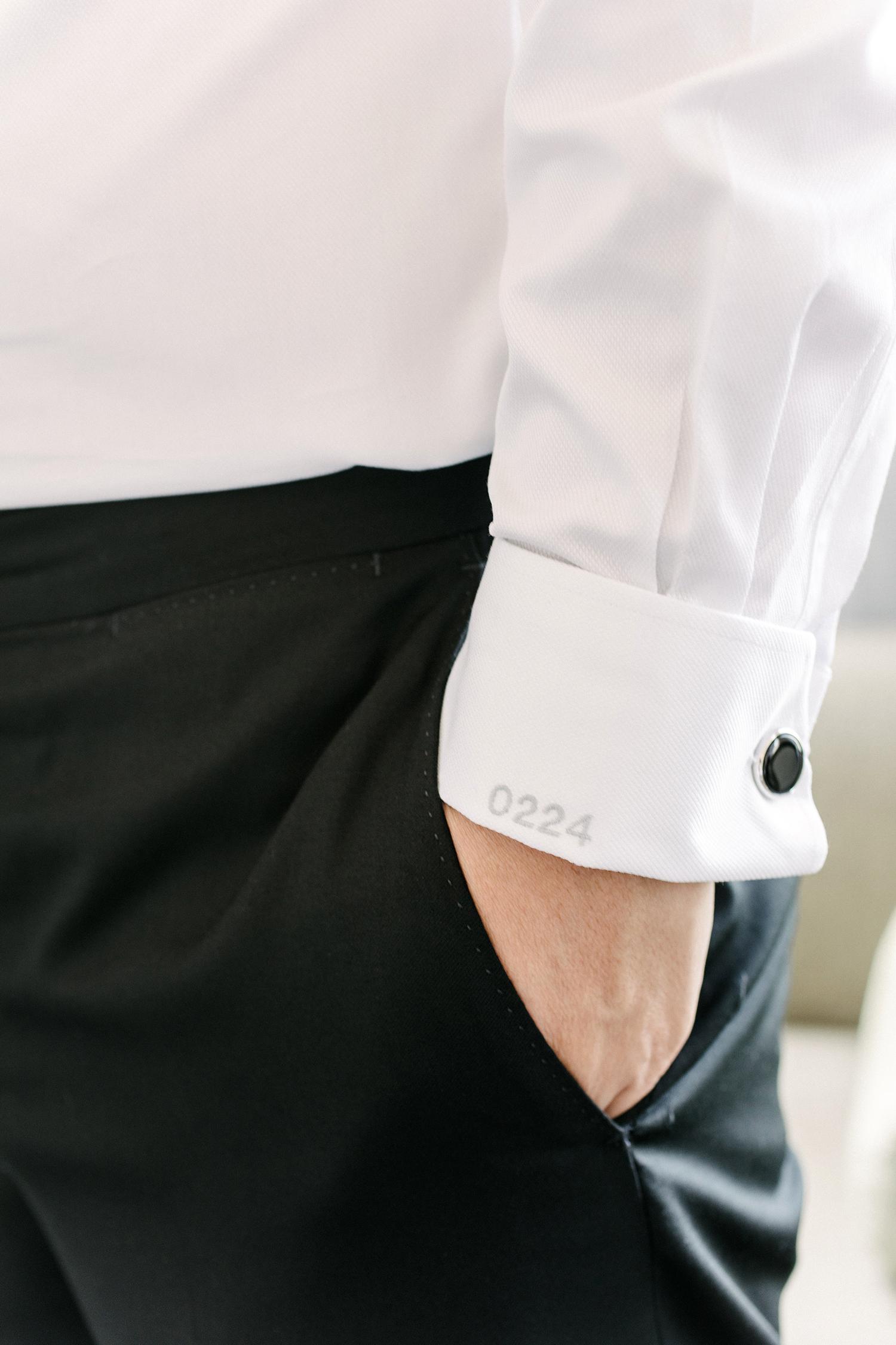 stephanie tim wedding grooms shirt cuff