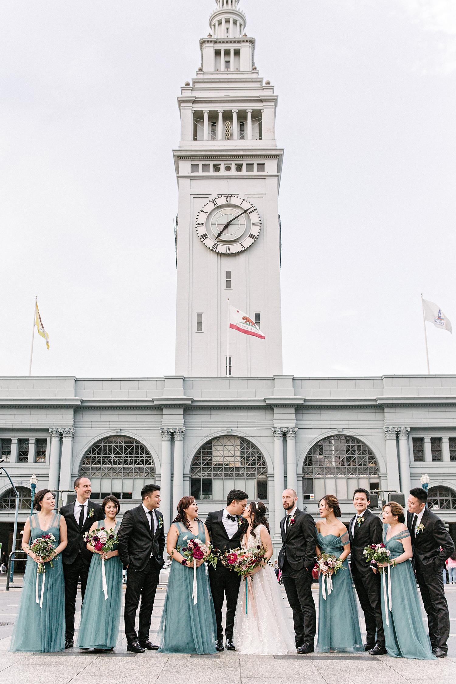 stephanie tim wedding bridal party and clocktower