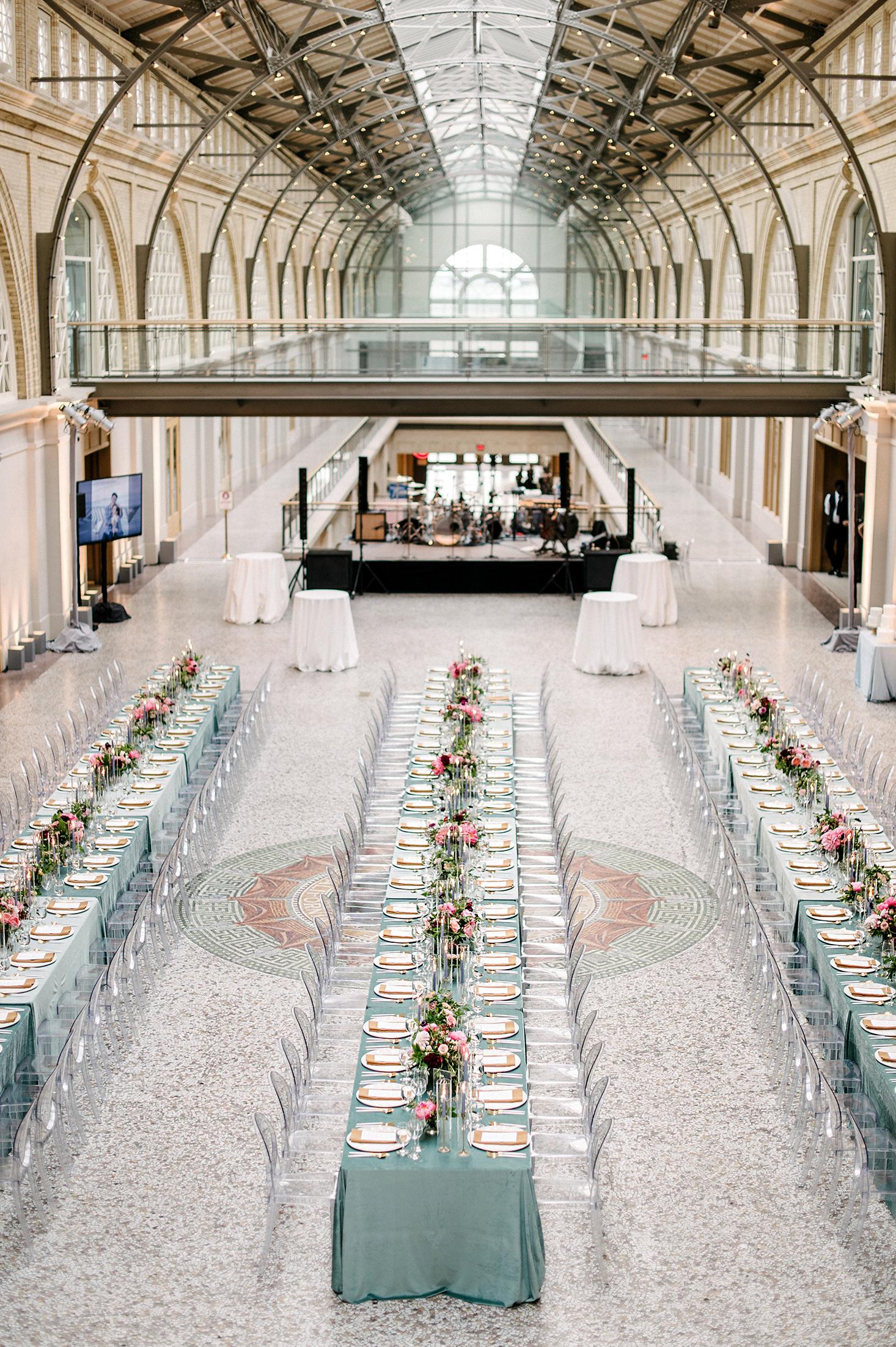 stephanie tim wedding reception banquet tables