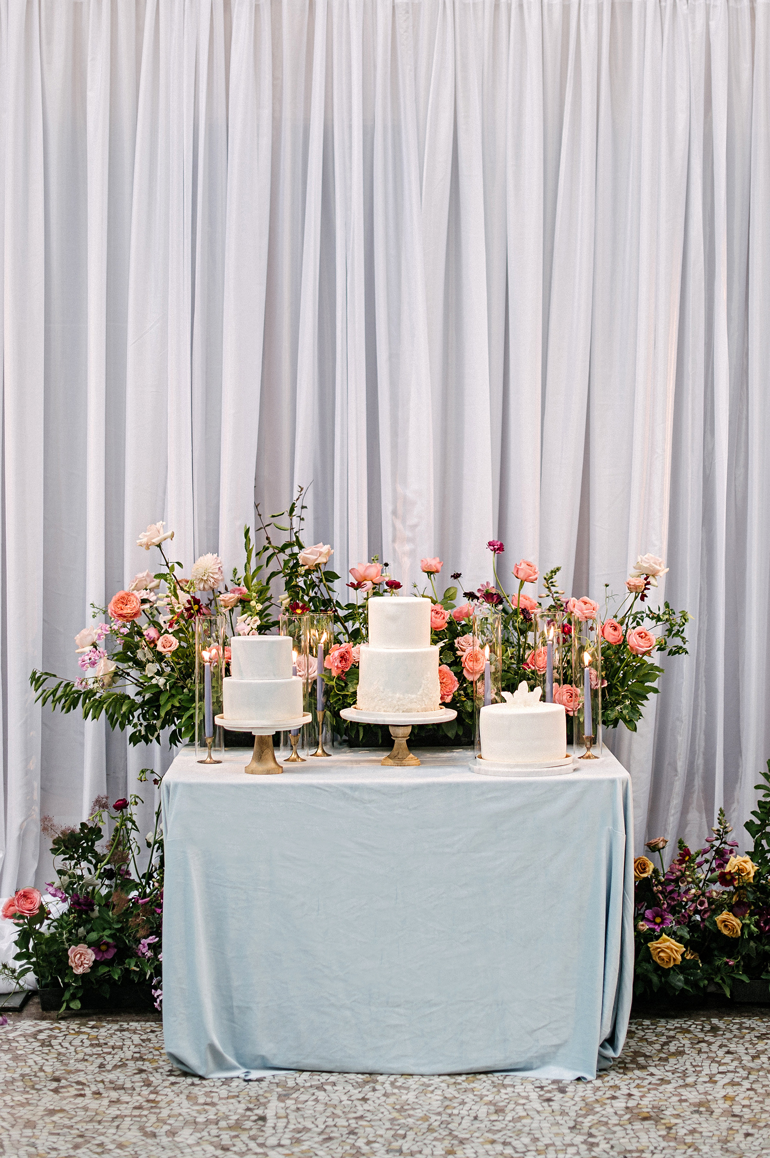 stephanie tim wedding cakes on table