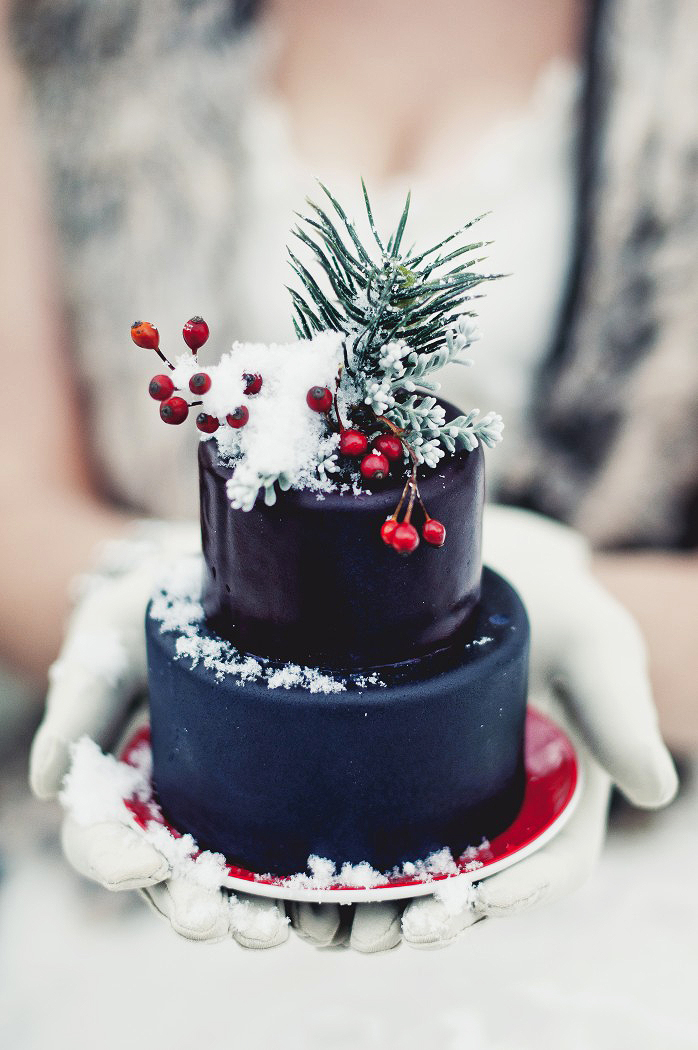 blue winter individual cake