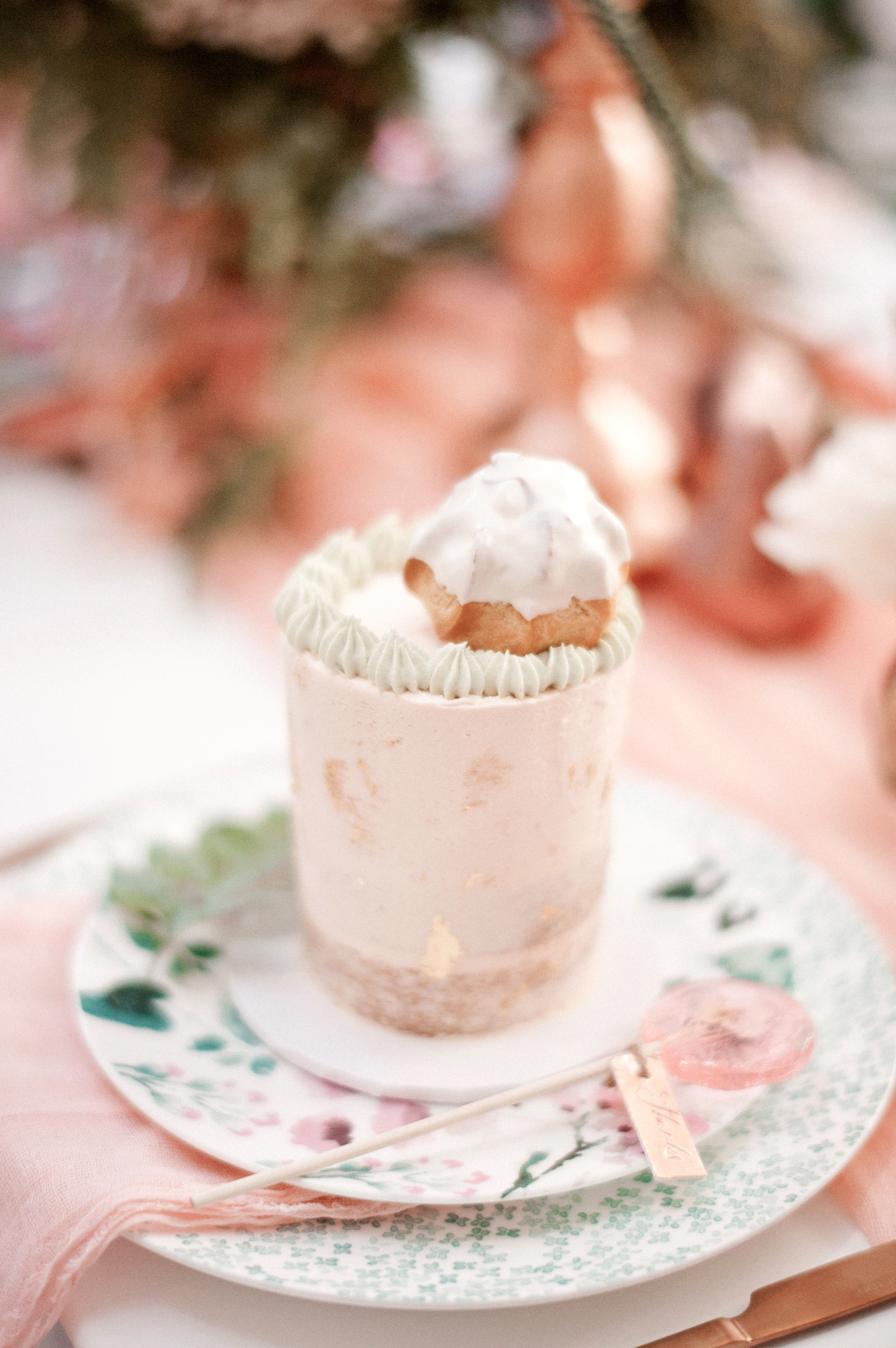 pink individual cakes