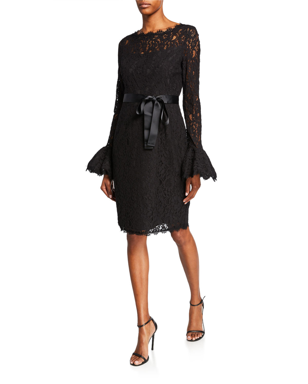 Shani Illusion-Neck Bell-Sleeve Lace Sheath Dress with Sash