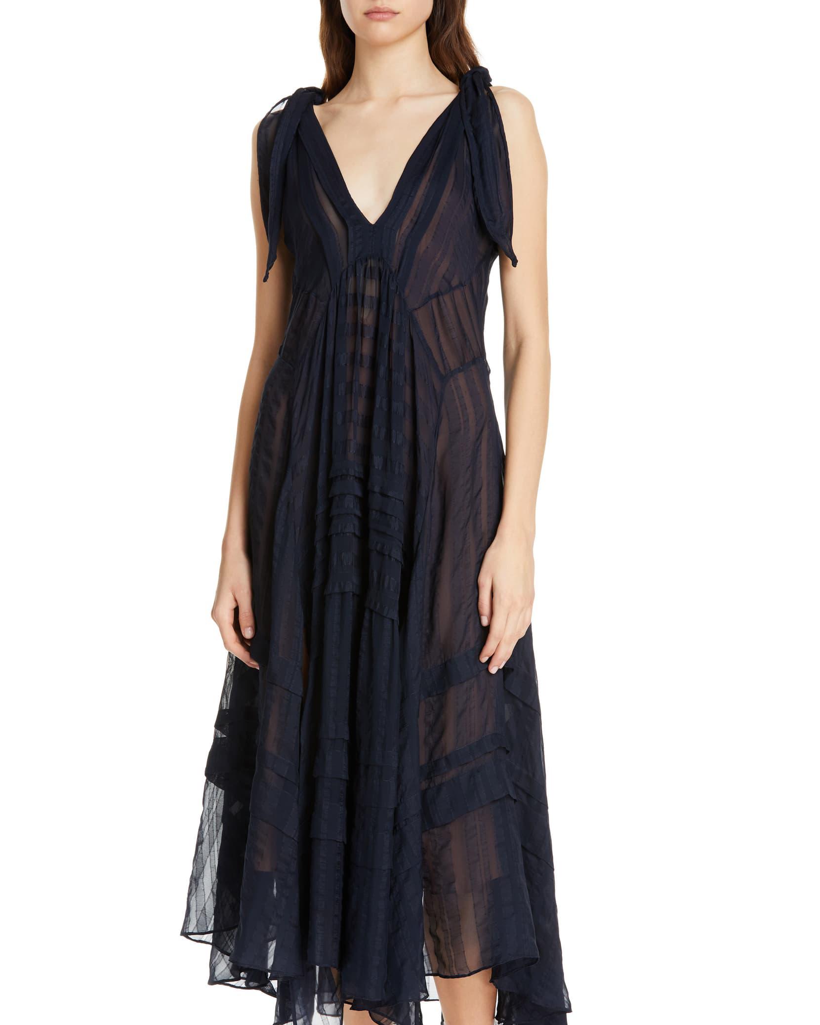Rebecca Taylor Sleeveless Stripe Silk Saxi Dress