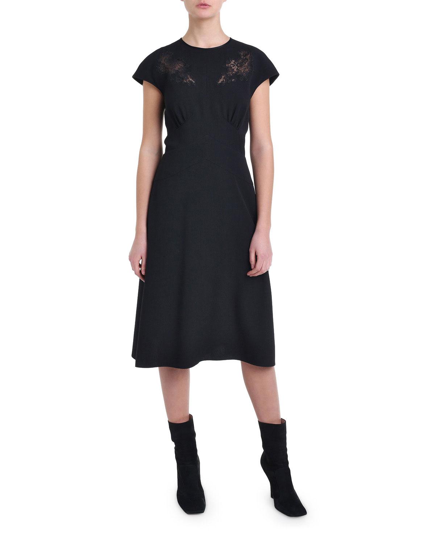Fendi Cap-Sleeve Lace Cocktail Dress