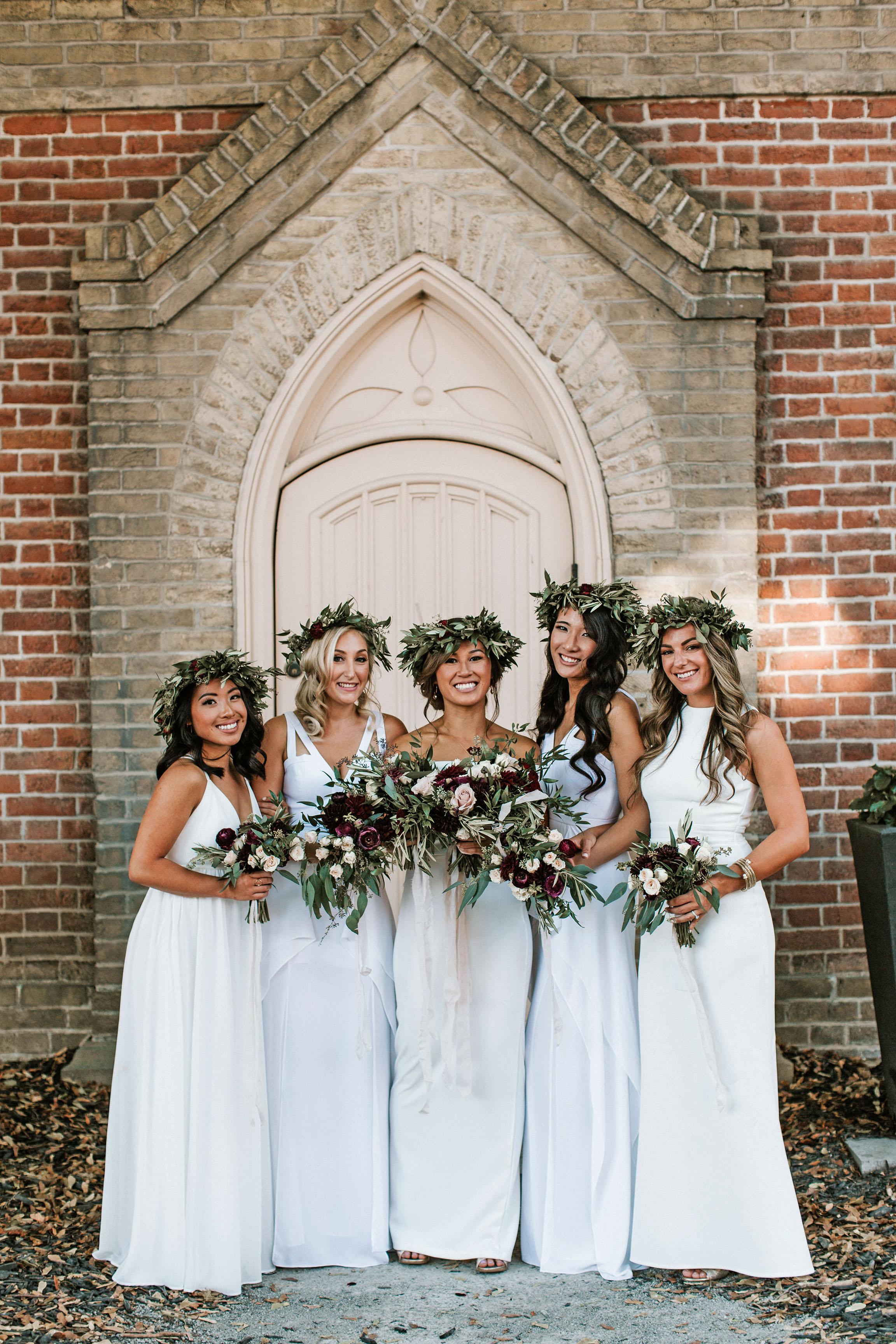 greenery crowns on bridal party brandon scott photography