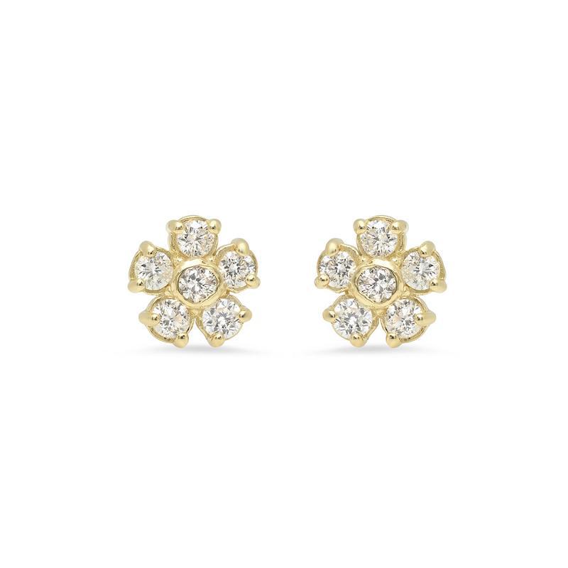 diamond flower earrings