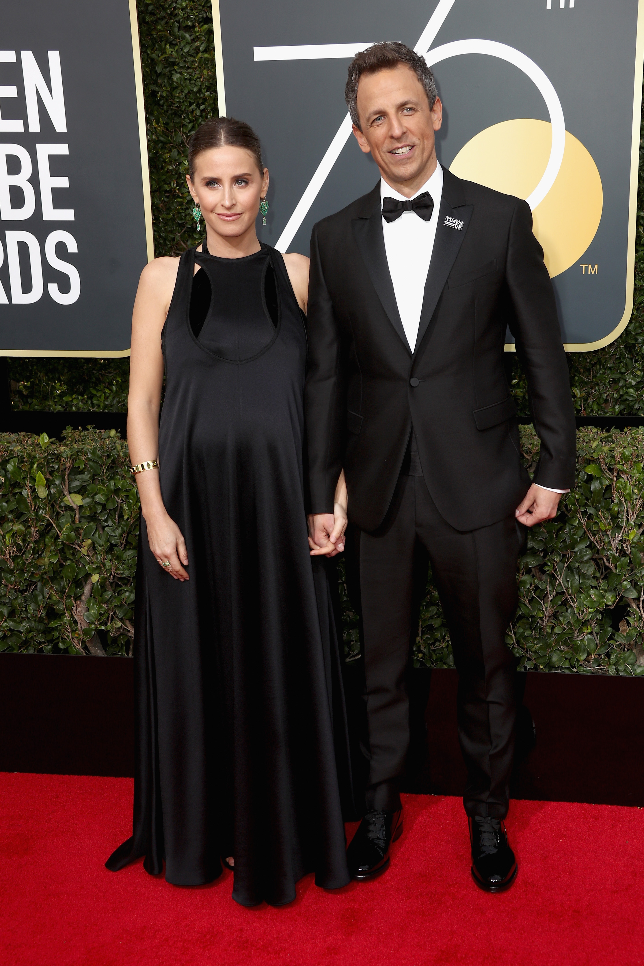 Seth Meyers and Alexi Ashe 2018 Golden Globes
