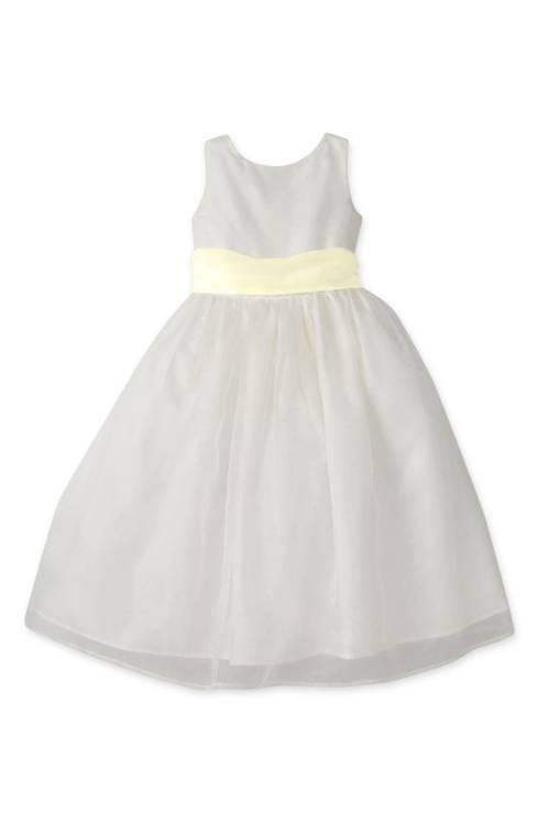 Us Angels Flower Girl Dress with Yellow Sash